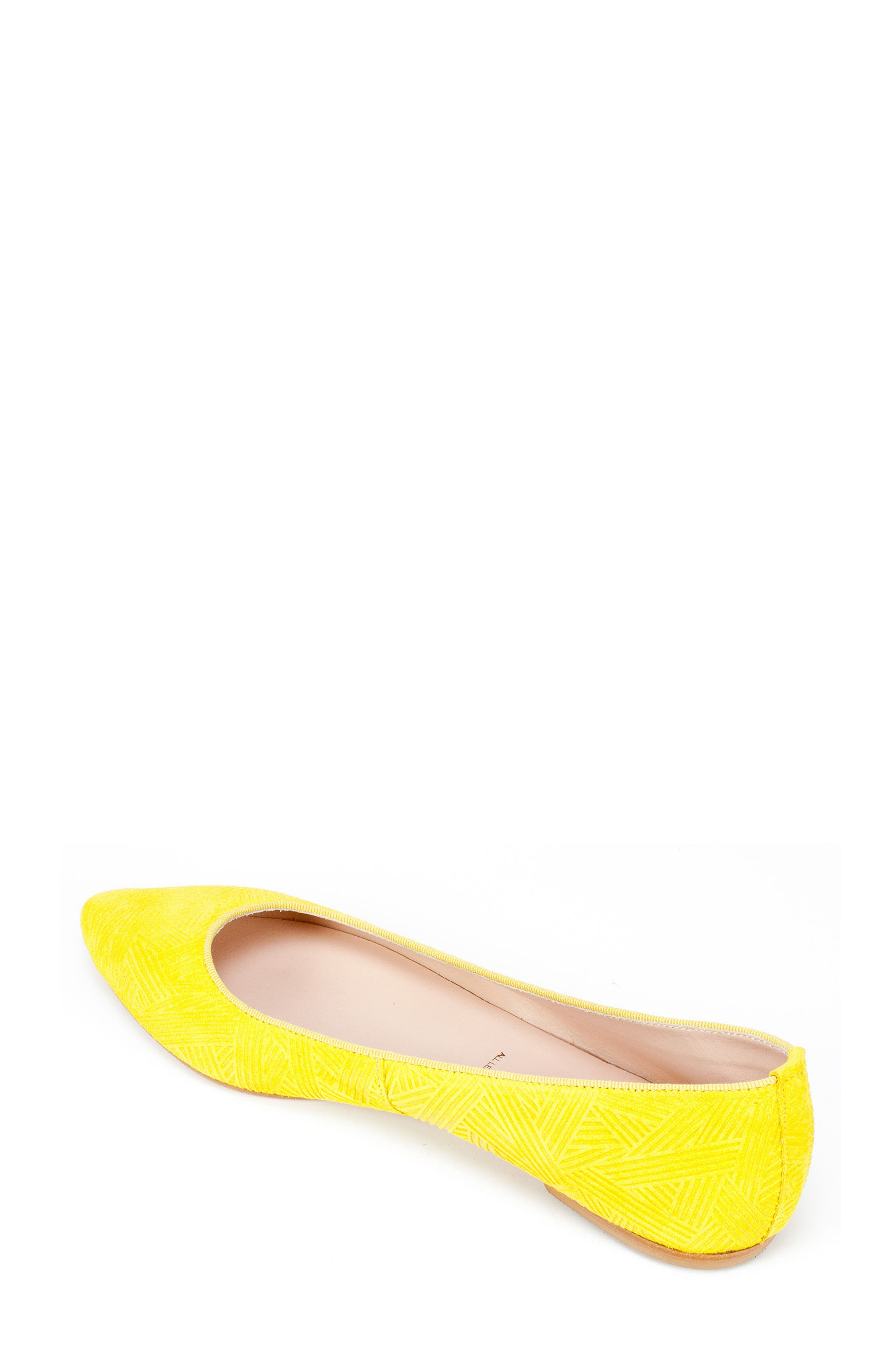 'Kamora' Pointy Toe Flat,                             Alternate thumbnail 2, color,                             Yellow Suede