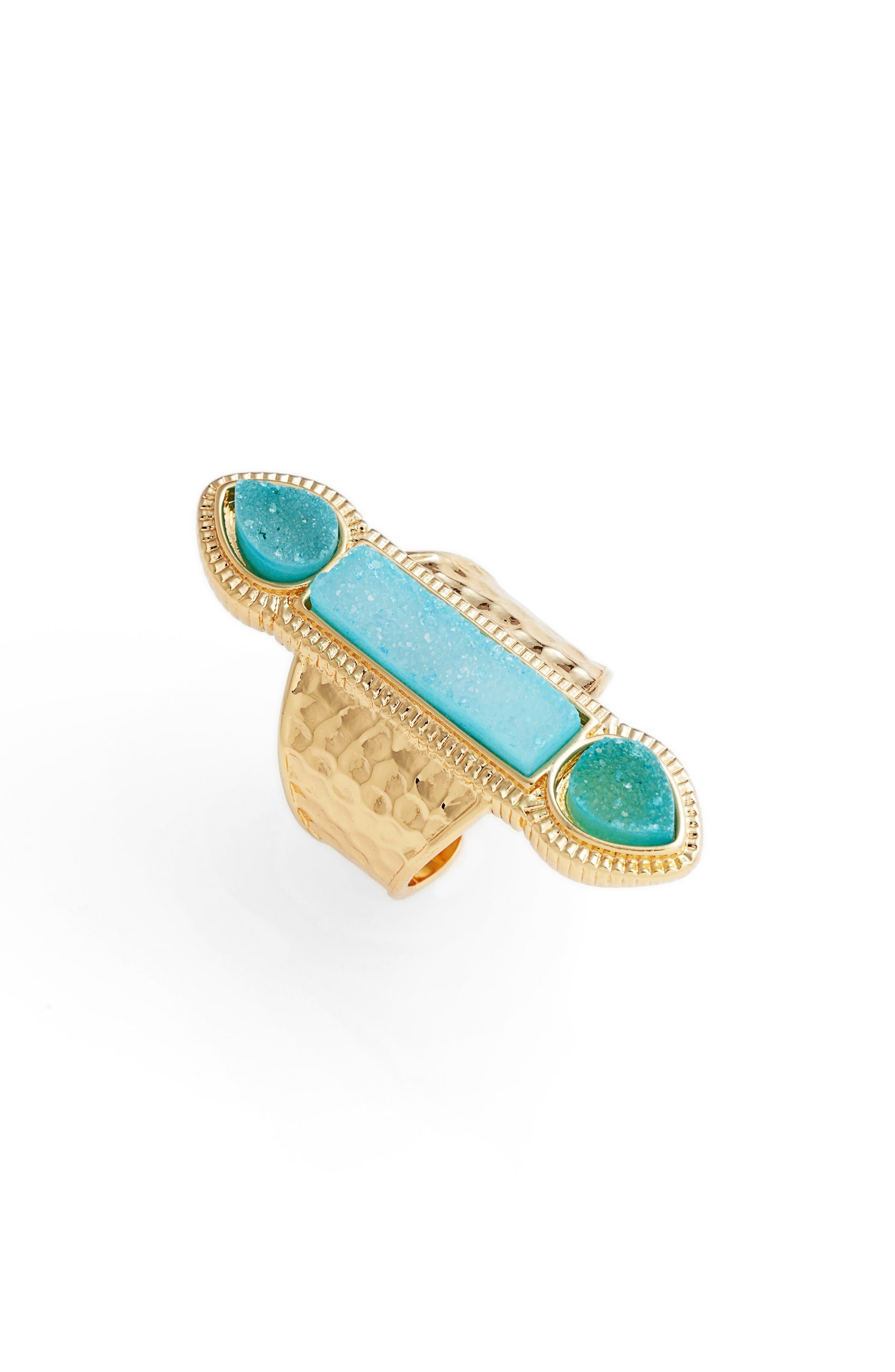 Pyramid Drusy Quartz Adjustable Ring,                         Main,                         color, Light Blue Druzy