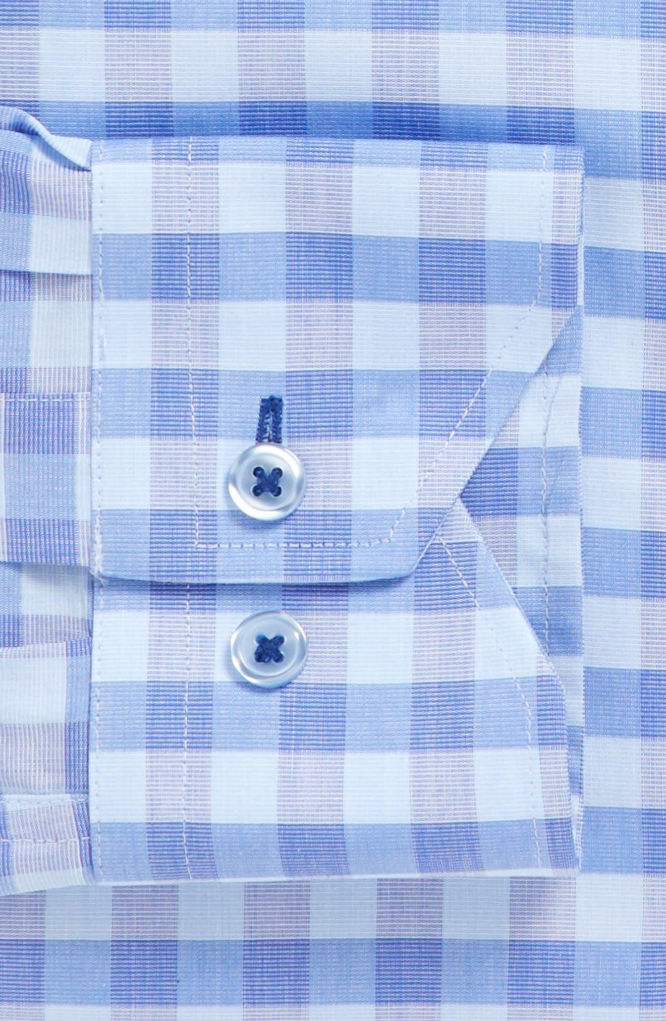 Trim Fit Check Dress Shirt,                             Alternate thumbnail 3, color,                             Blue/ Purple