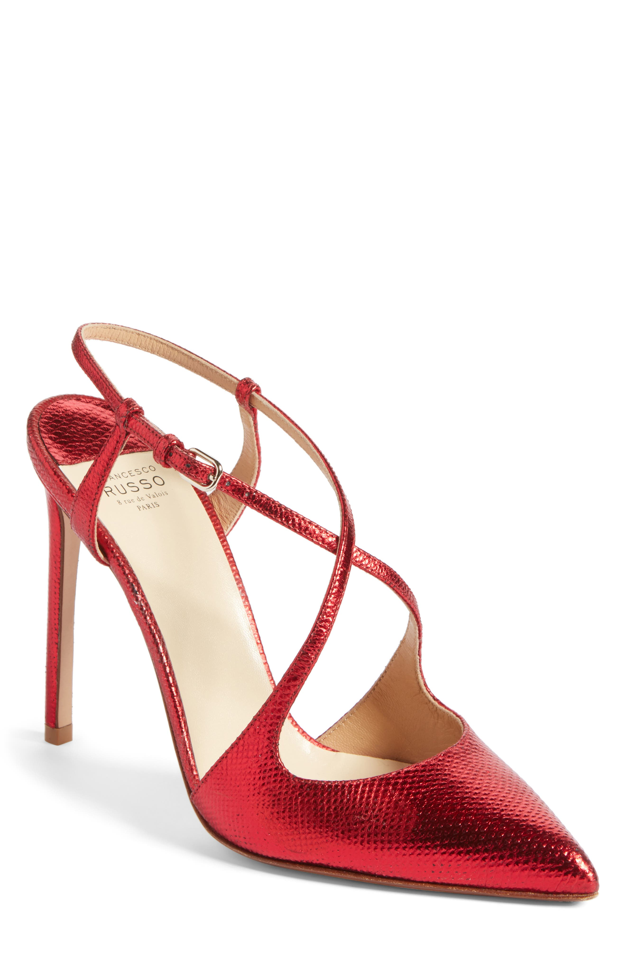 Alternate Image 1 Selected - Francesco Russo Criss Cross Genuine Snakeskin Pump (Women)