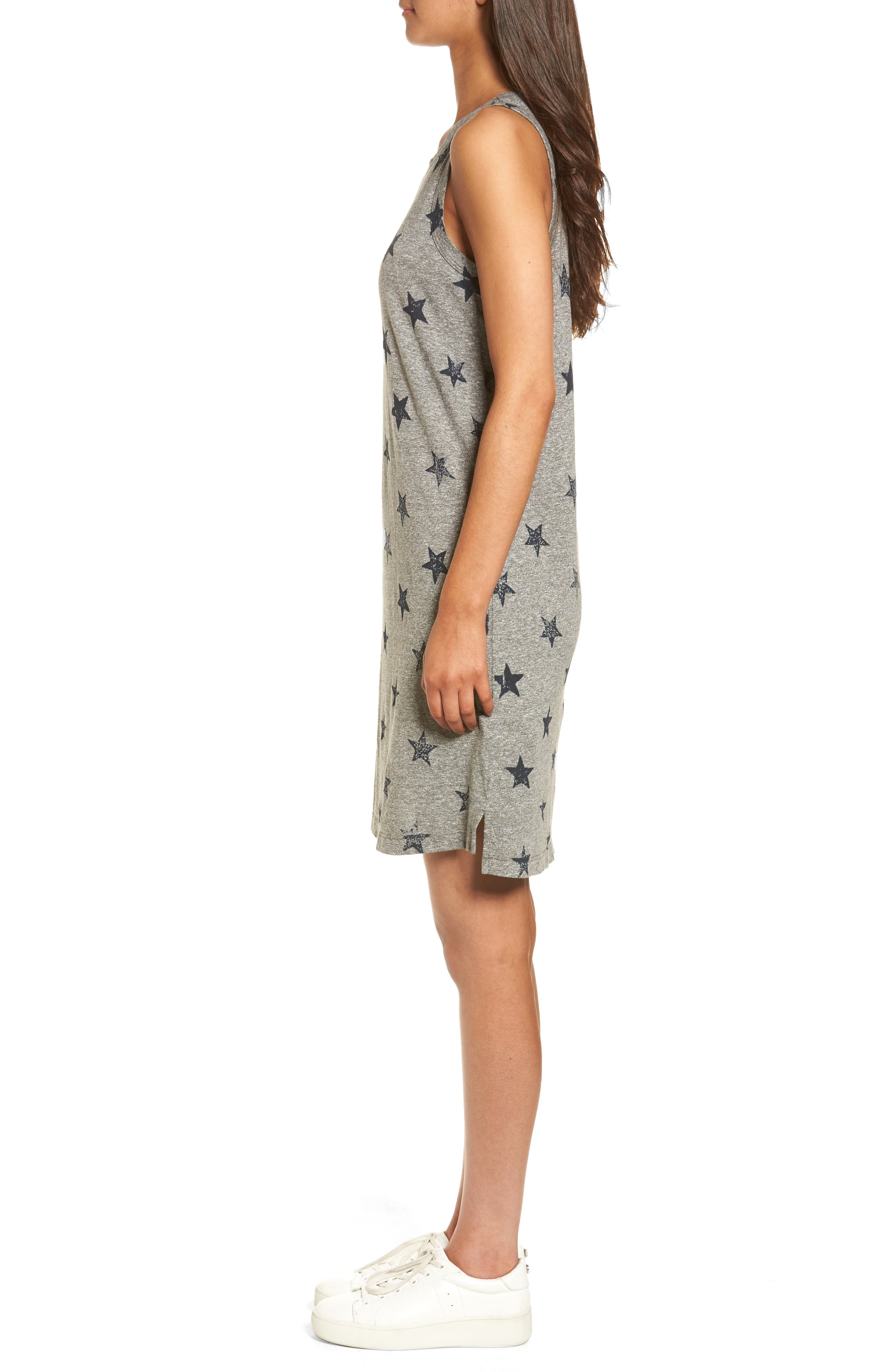 The Muscle Tee Dress,                             Alternate thumbnail 3, color,                             Heather Grey W/ Big Navy Stars
