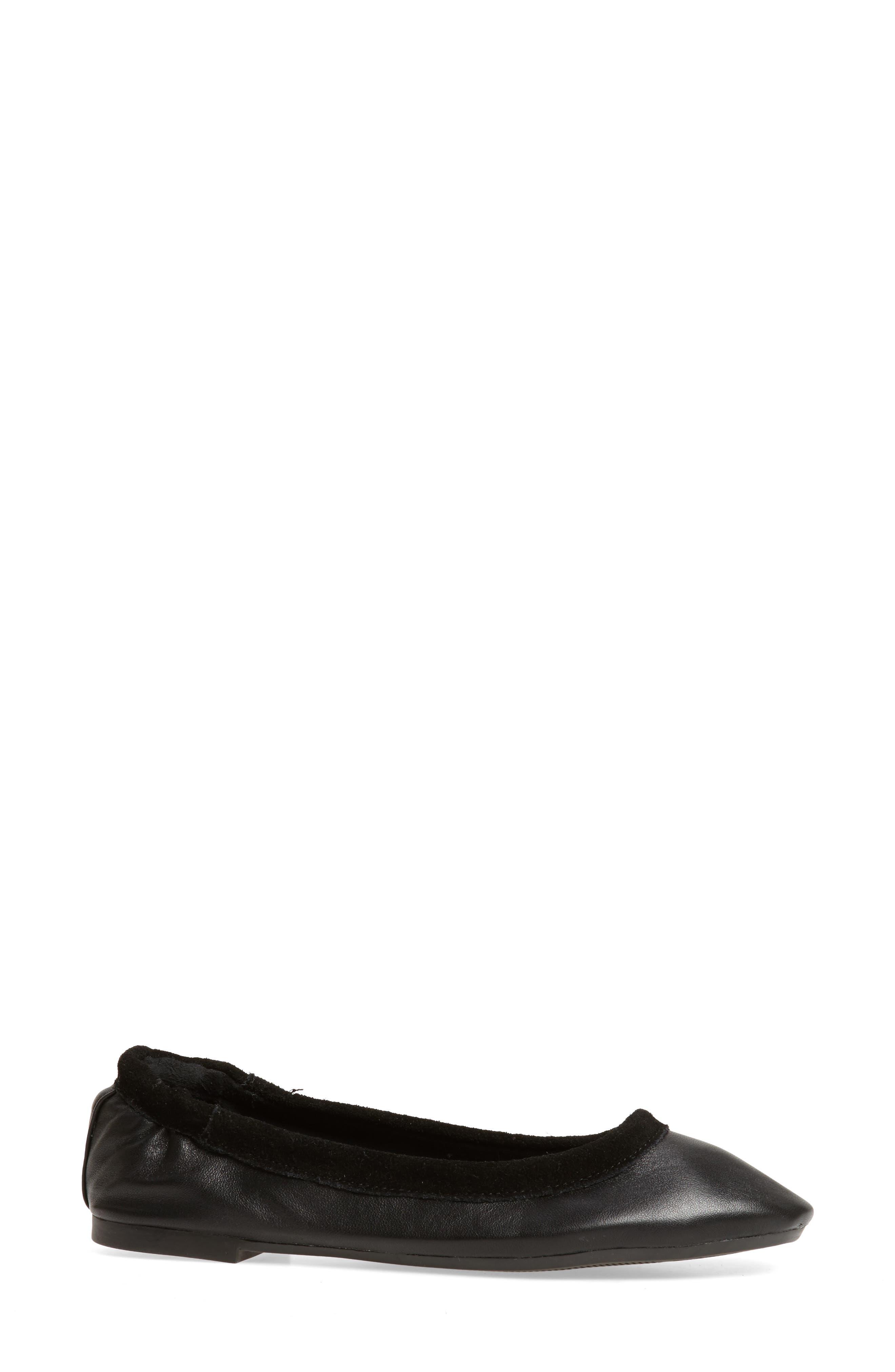 M4D3 Cozy Ballet Flat,                             Alternate thumbnail 3, color,                             Black Leather