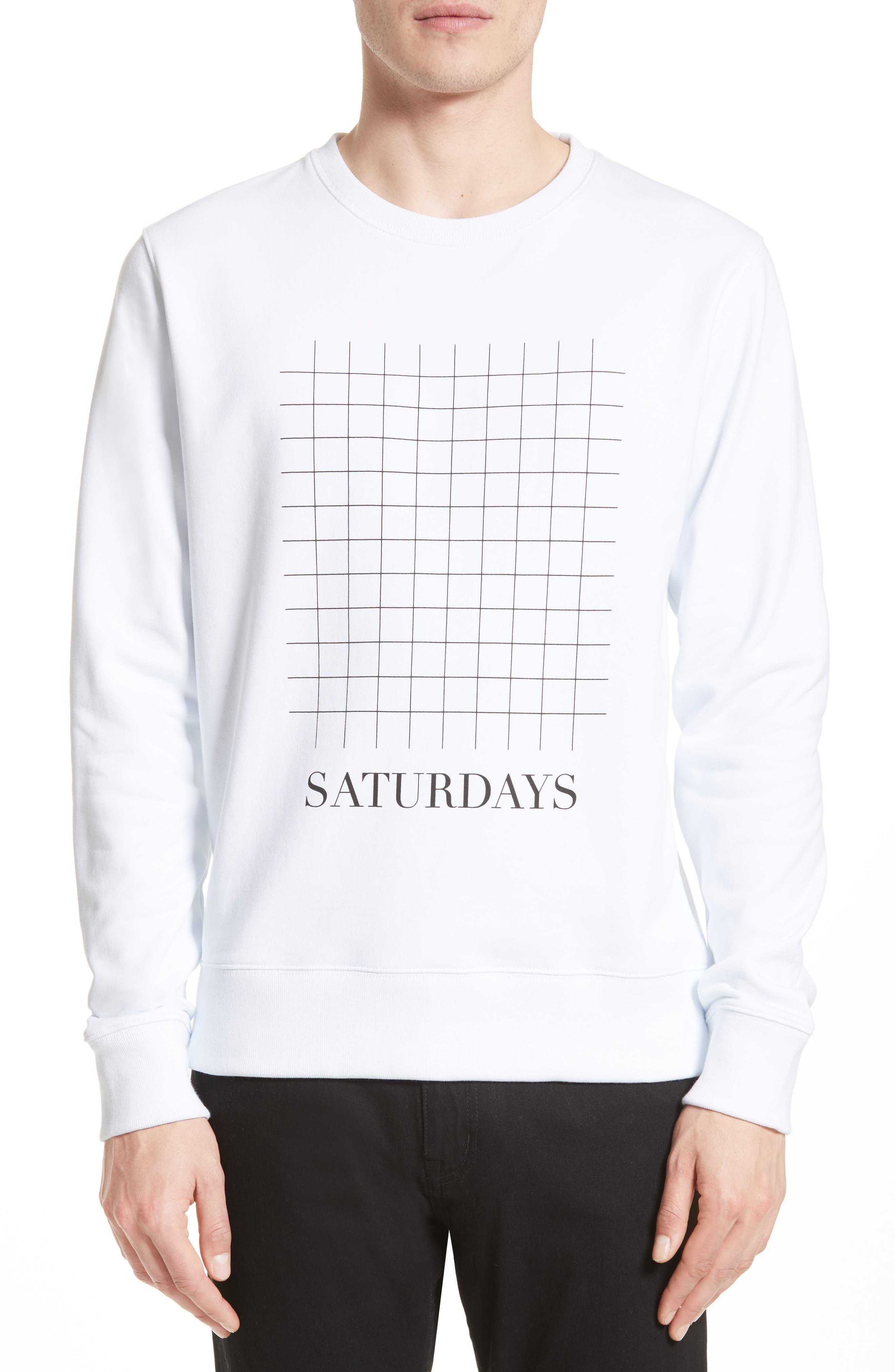 Bowery Grid Logo Sweatshirt,                         Main,                         color, White