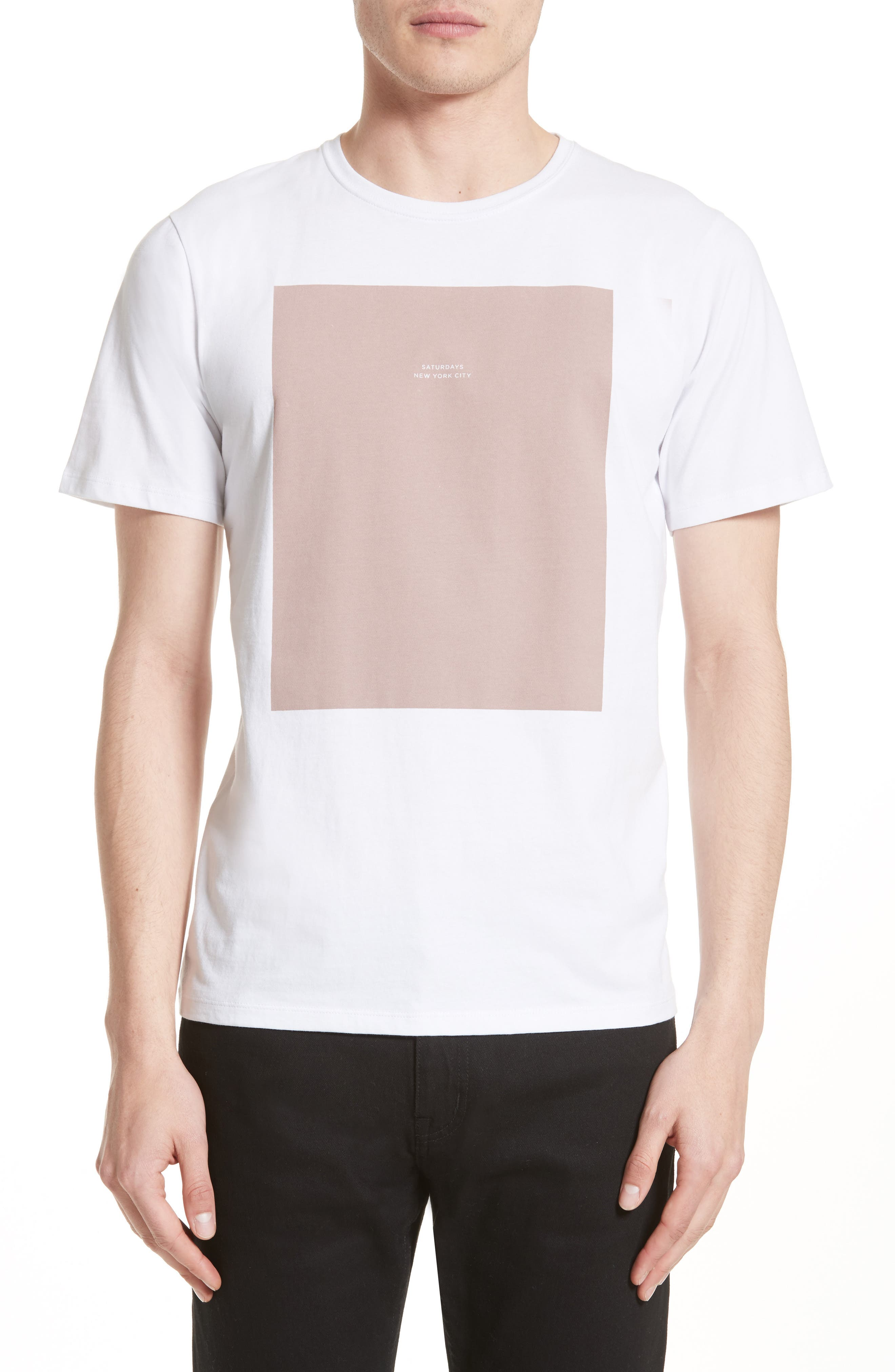 Rectangle Logo Graphic T-Shirt,                         Main,                         color, White
