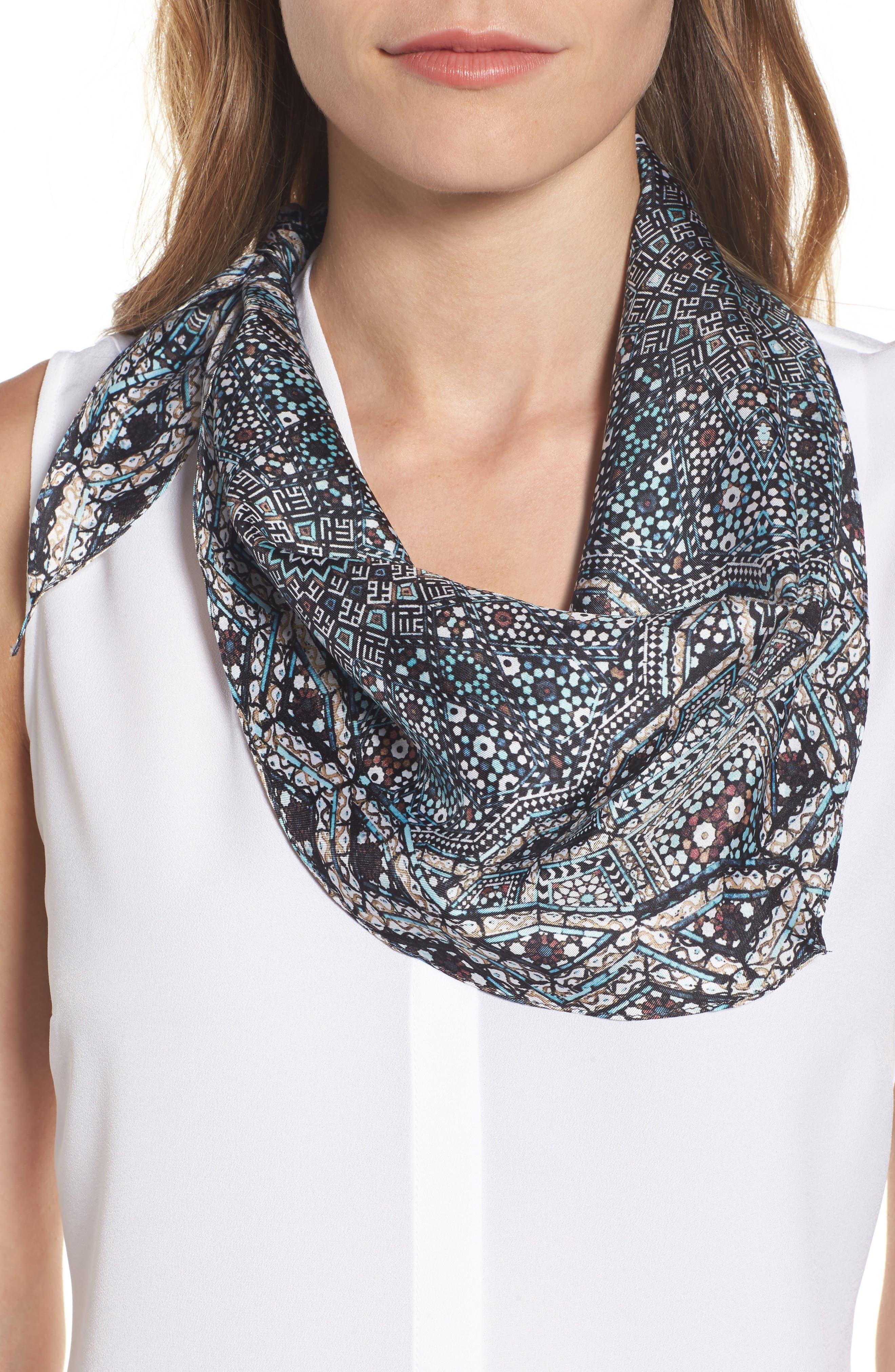 Medallion Diamond Silk Scarf,                         Main,                         color, Summit Grey