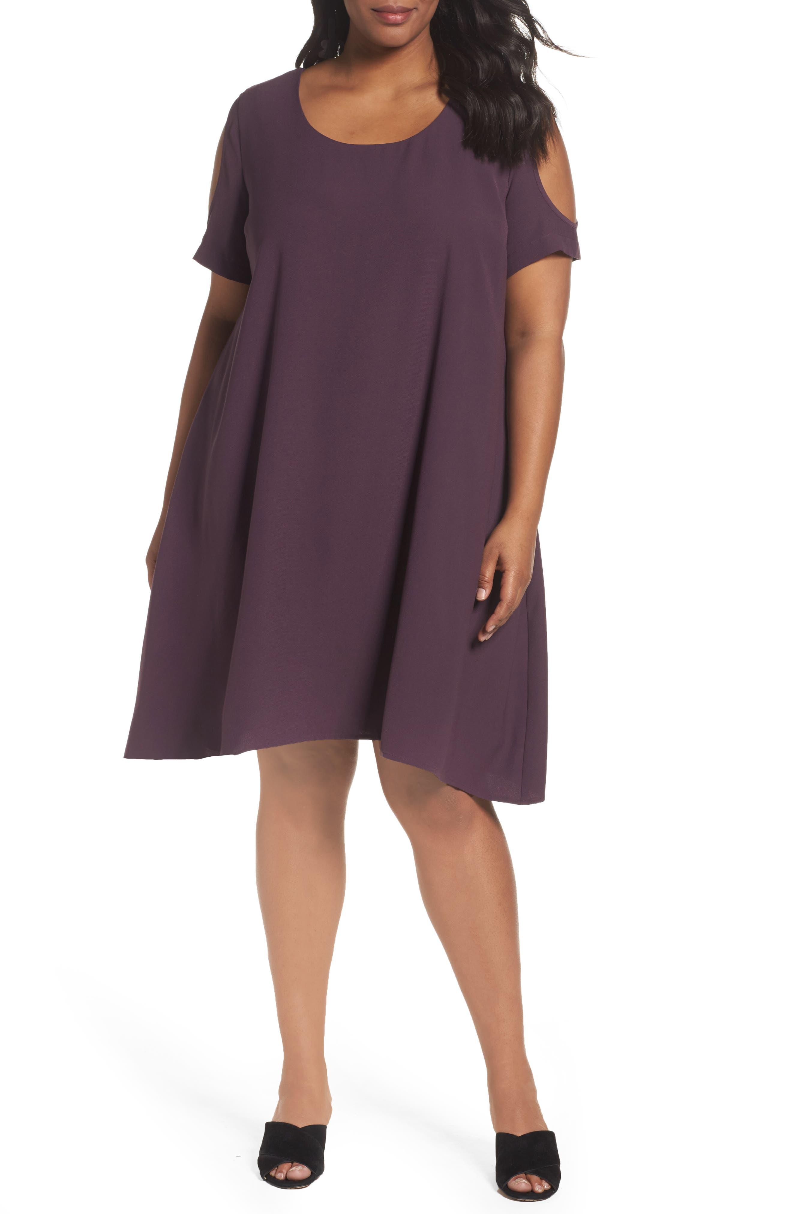 Cold Shoulder Swing Dress,                             Main thumbnail 1, color,                             Purple Plum