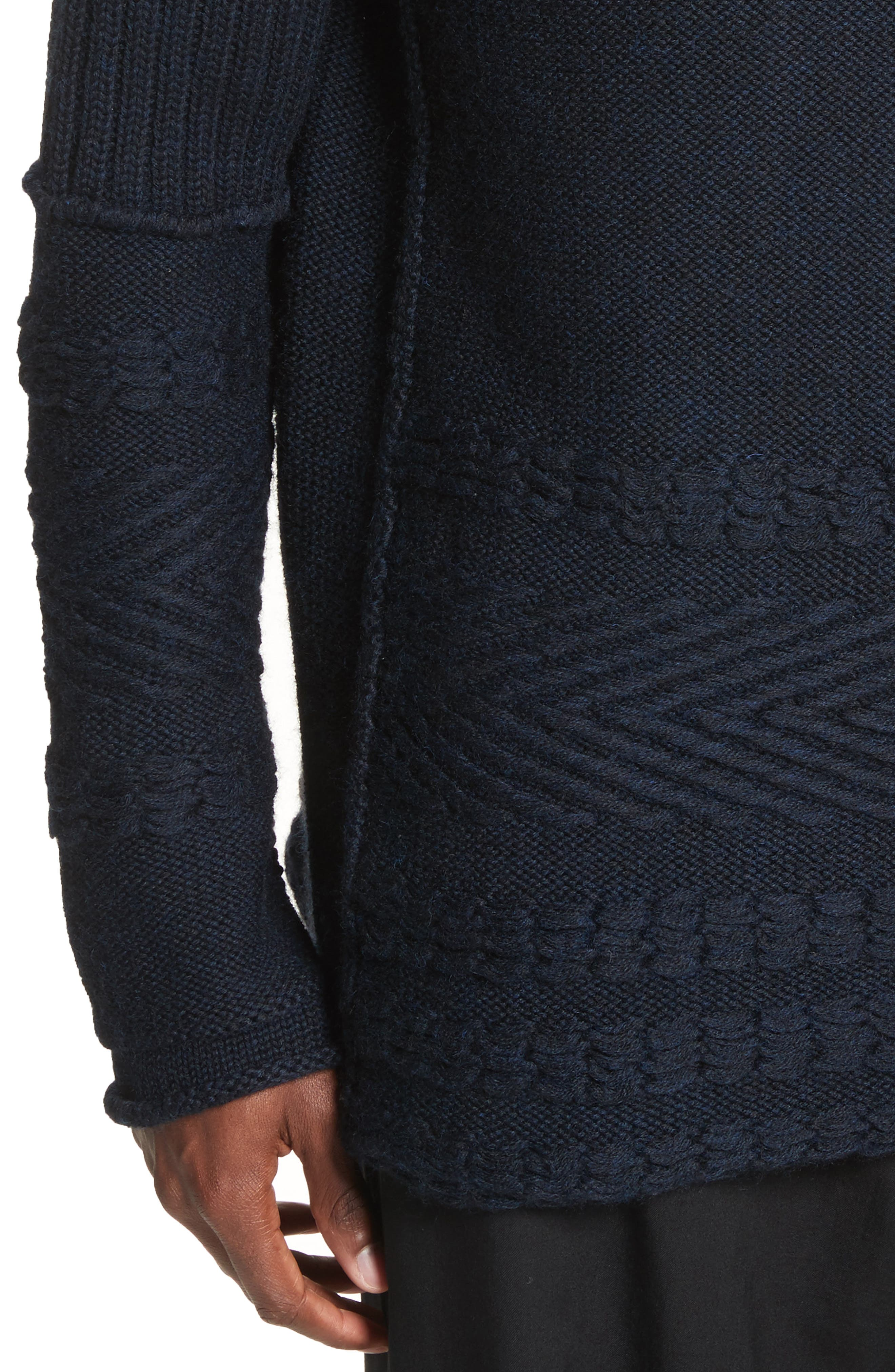 Mixed Knit Wool Sweater,                             Alternate thumbnail 4, color,                             Navy