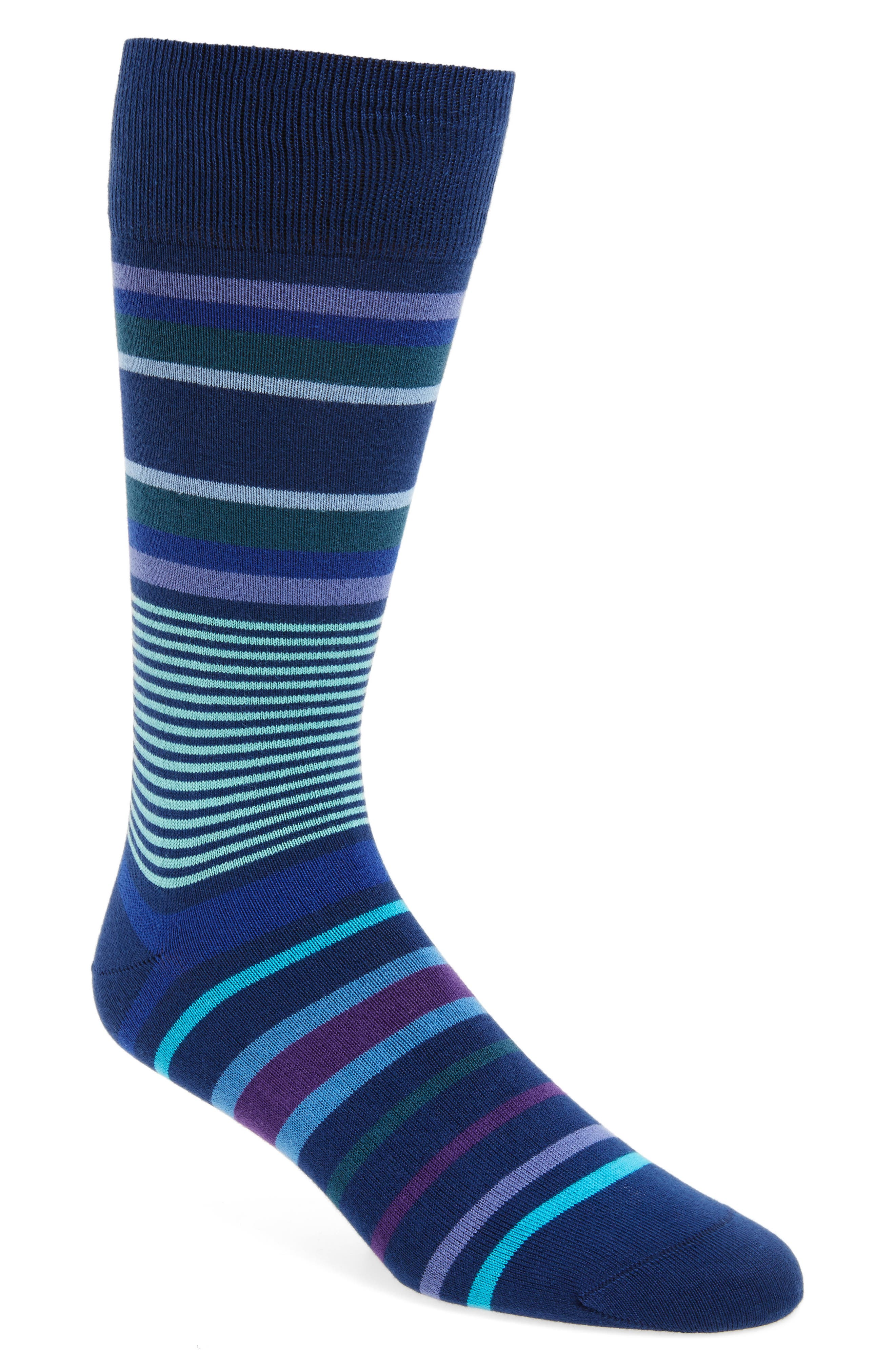 Lawn Stripe Socks,                         Main,                         color, Blue