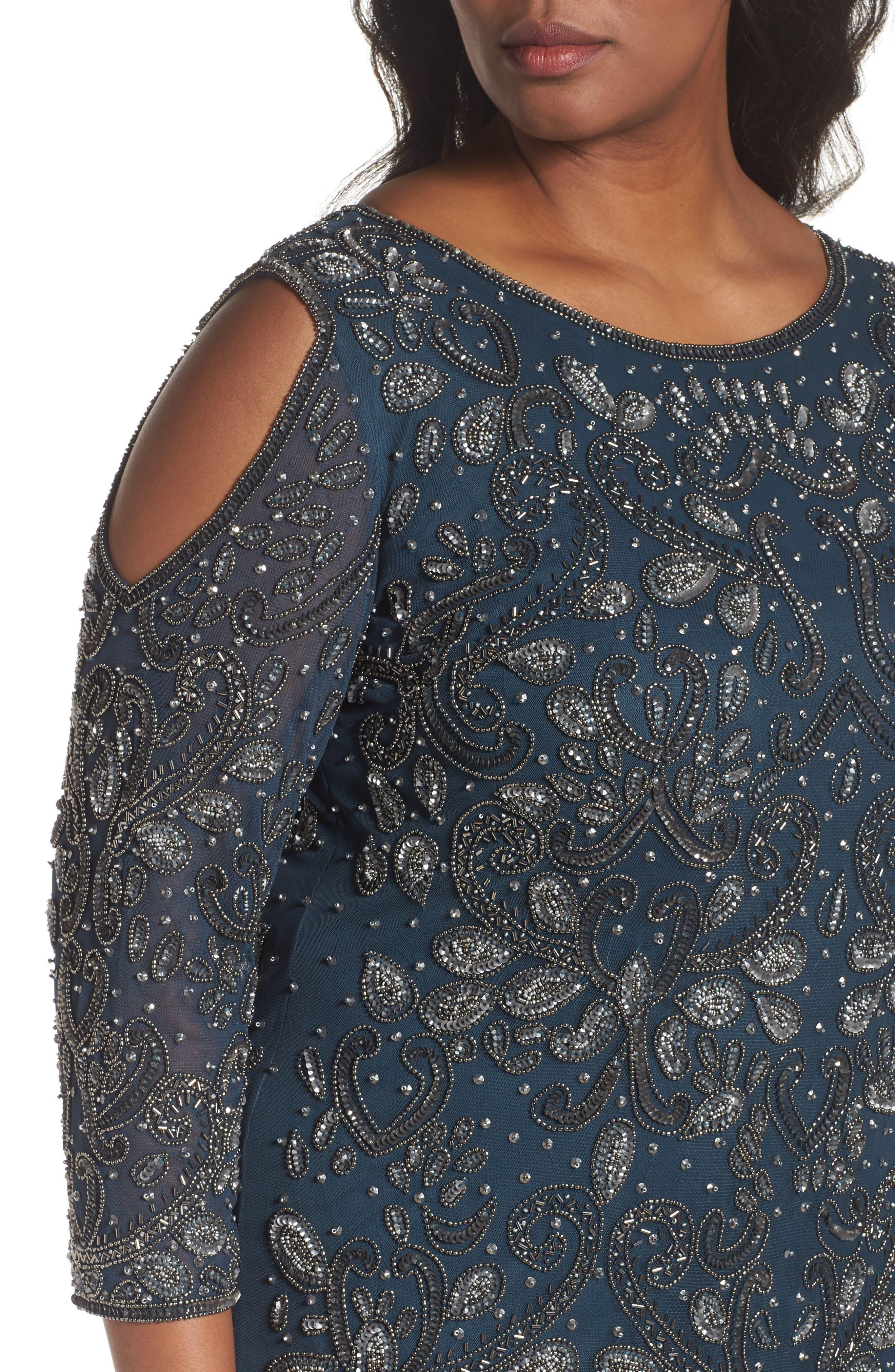 Alternate Image 4  - Pisarro Nights Embellished Cold Shoulder Dress (Plus Size)