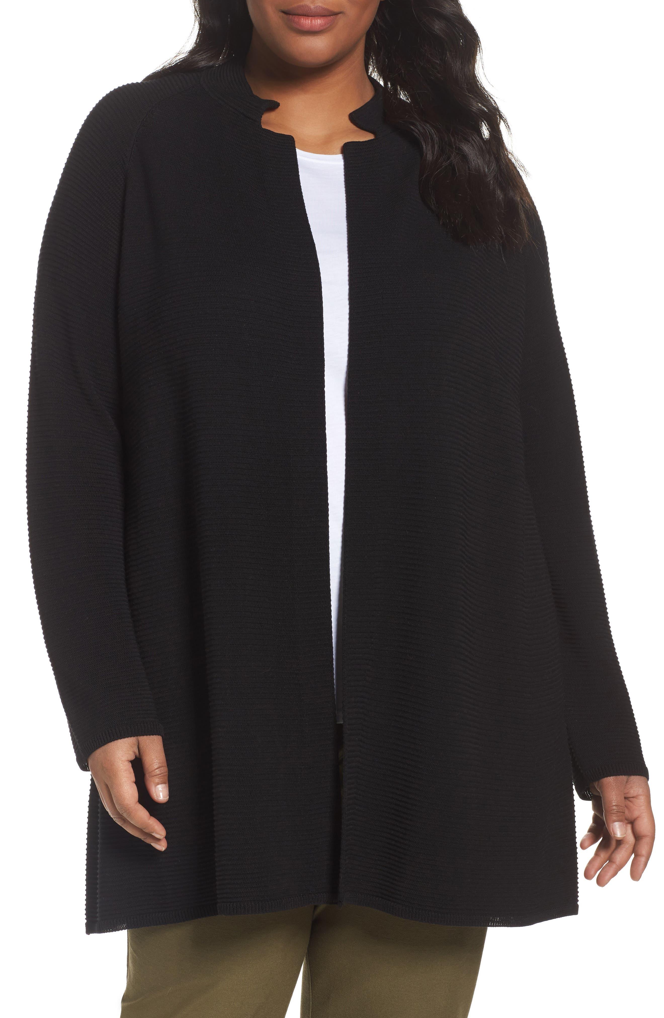 Eileen Fisher Rib Tencel® Stand Collar Long Jacket (Plus Size)