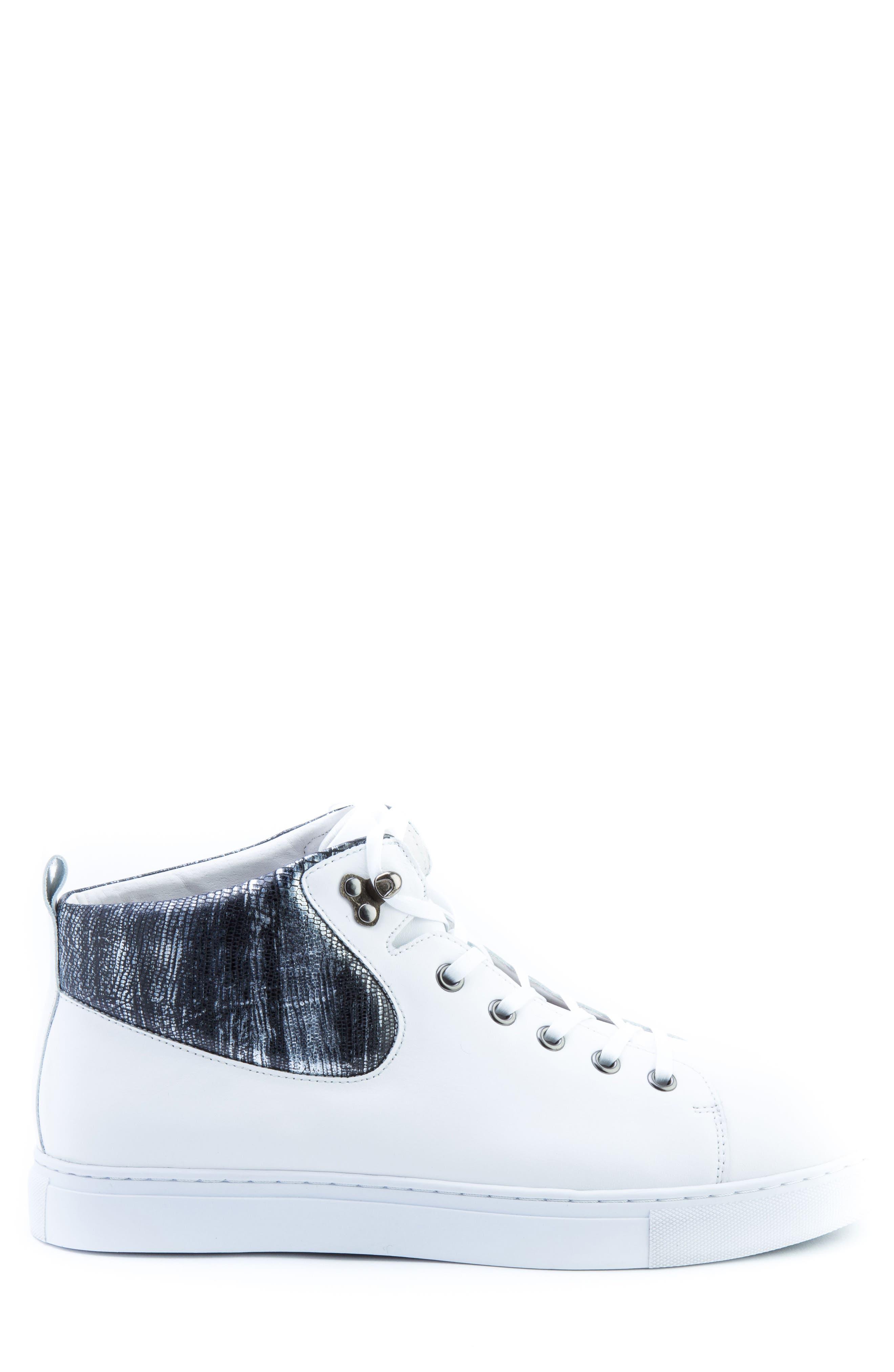Carroll Sneaker,                             Alternate thumbnail 3, color,                             White Leather