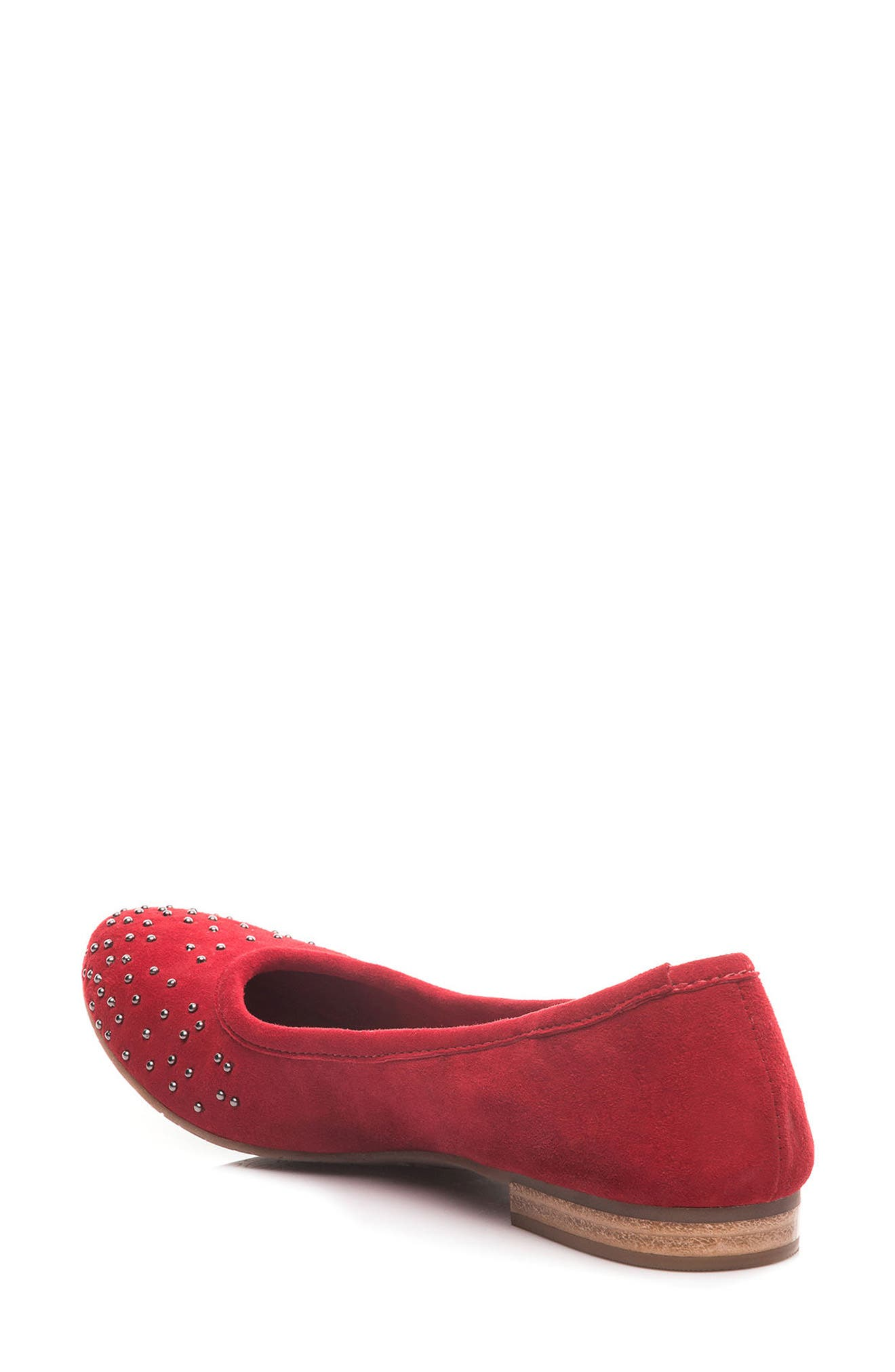 Dallas Studded Flat,                             Alternate thumbnail 2, color,                             Red Suede
