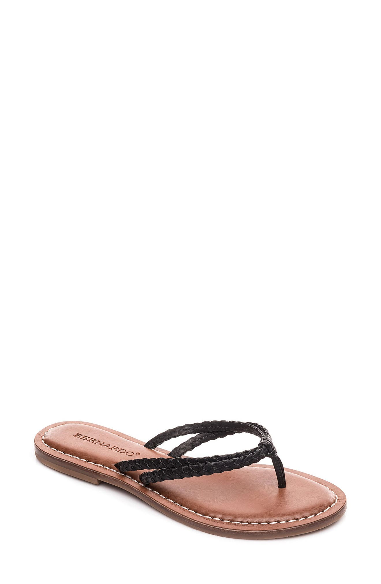 Bernardo Greta Braided Strap Sandal,                         Main,                         color, Black Leather