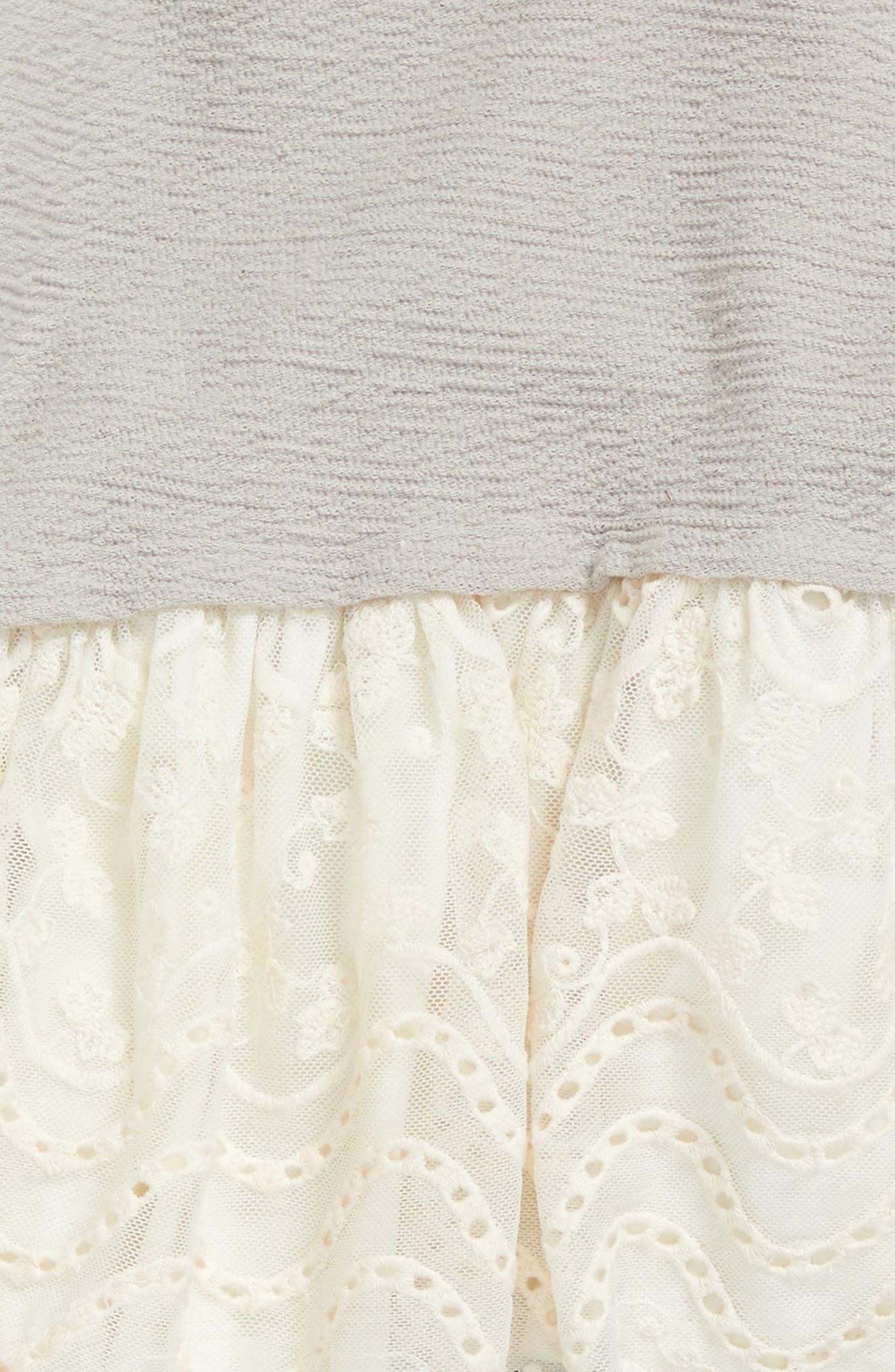 Lace Peplum Top & Leggings Set,                             Alternate thumbnail 2, color,                             Light Grey