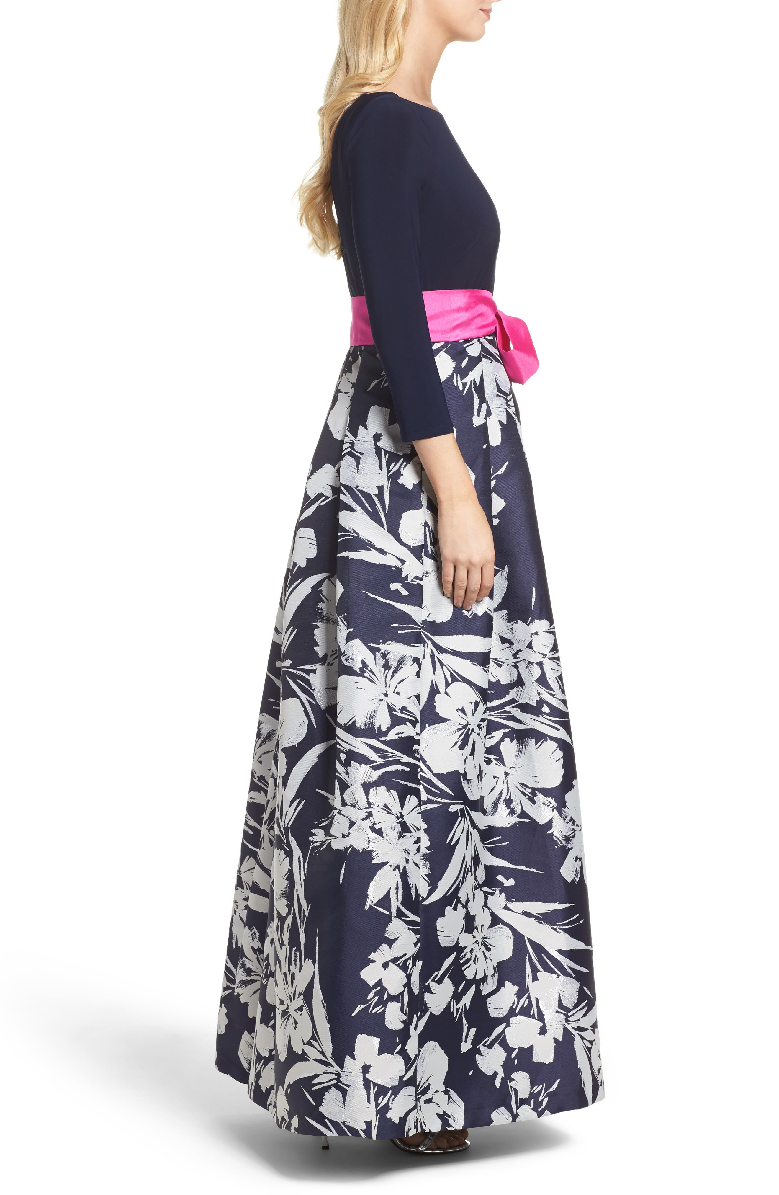 Floral Jacquard Gown,                             Alternate thumbnail 3, color,                             Navy