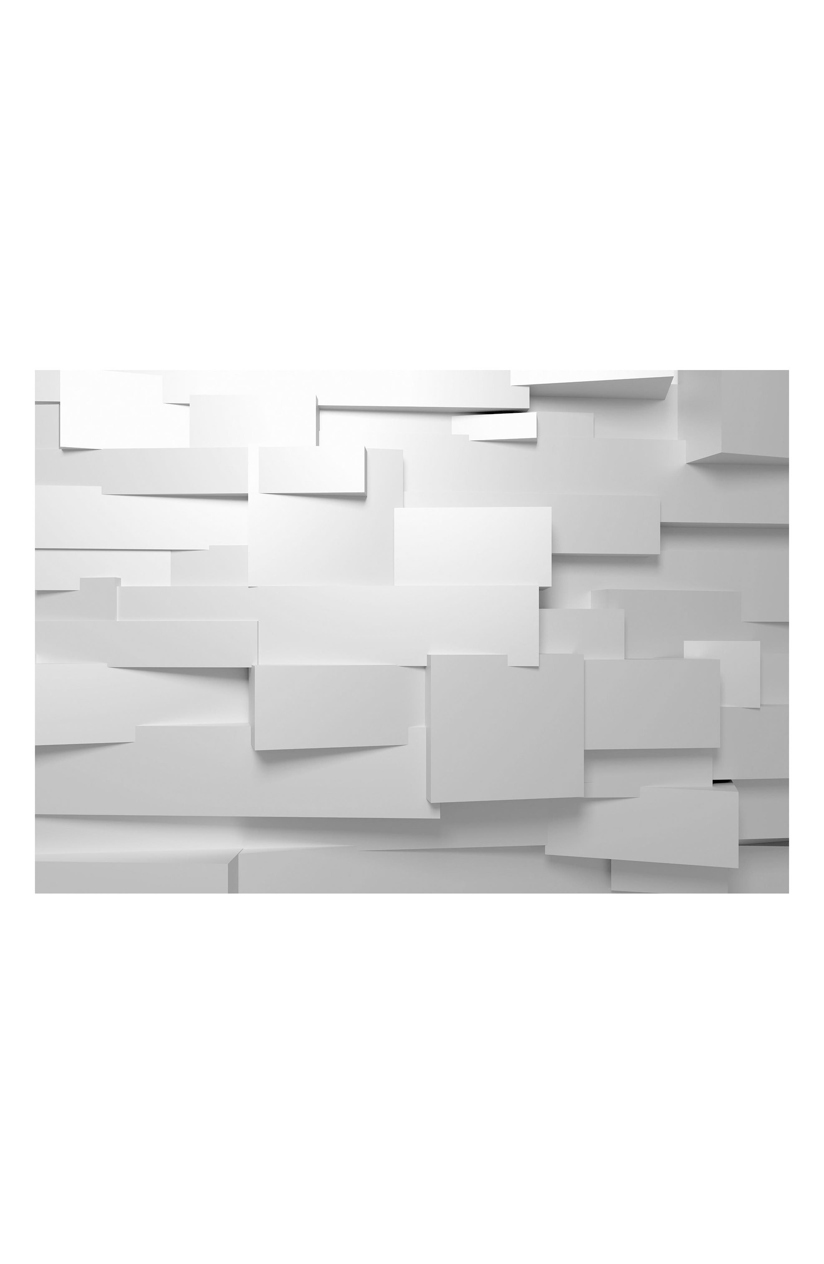 3D Effect 8-Panel Wall Mural,                         Main,                         color, White Multi