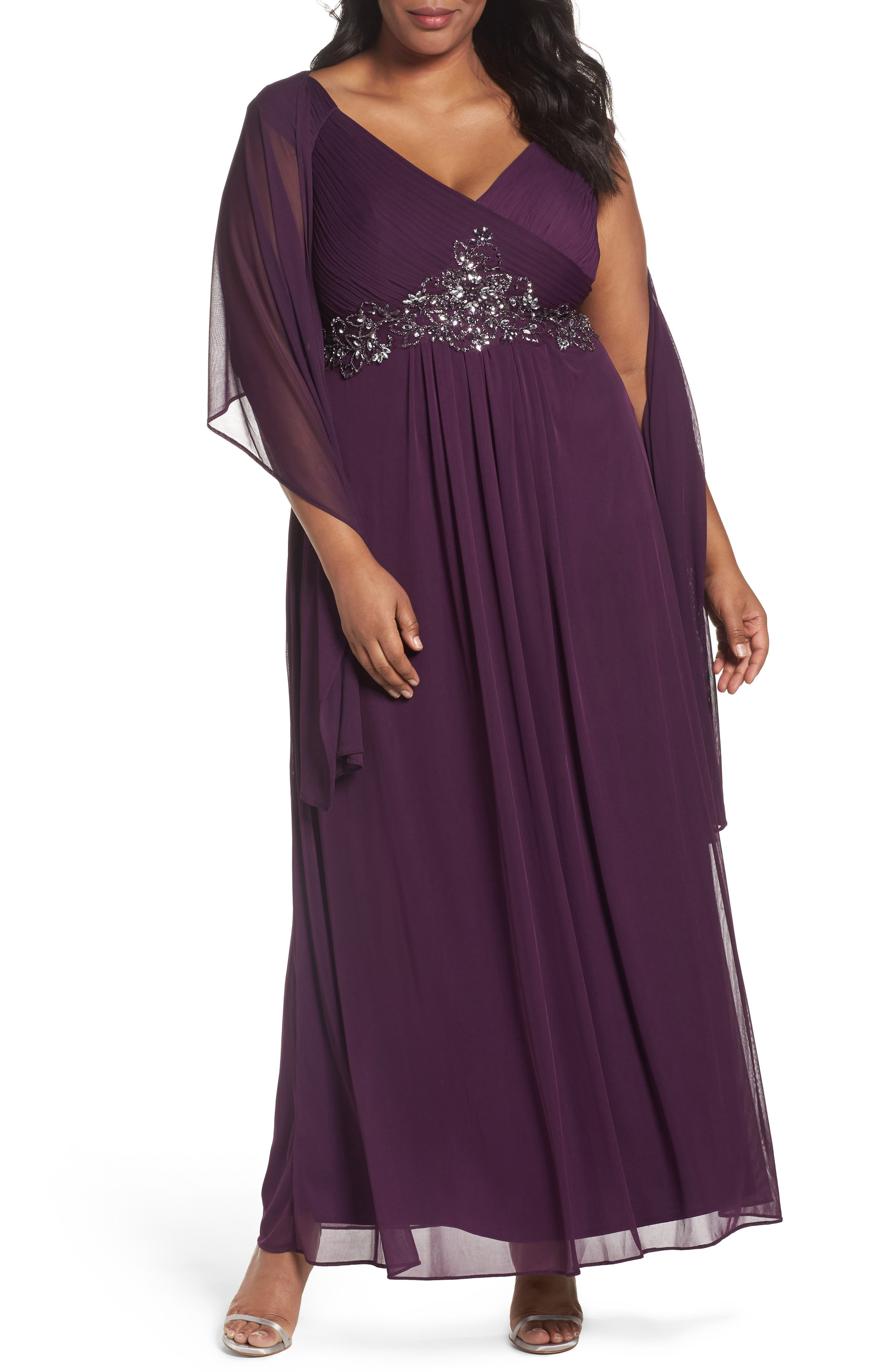 Alex Evenings Embellished A-Line Gown with Shawl (Plus Size)