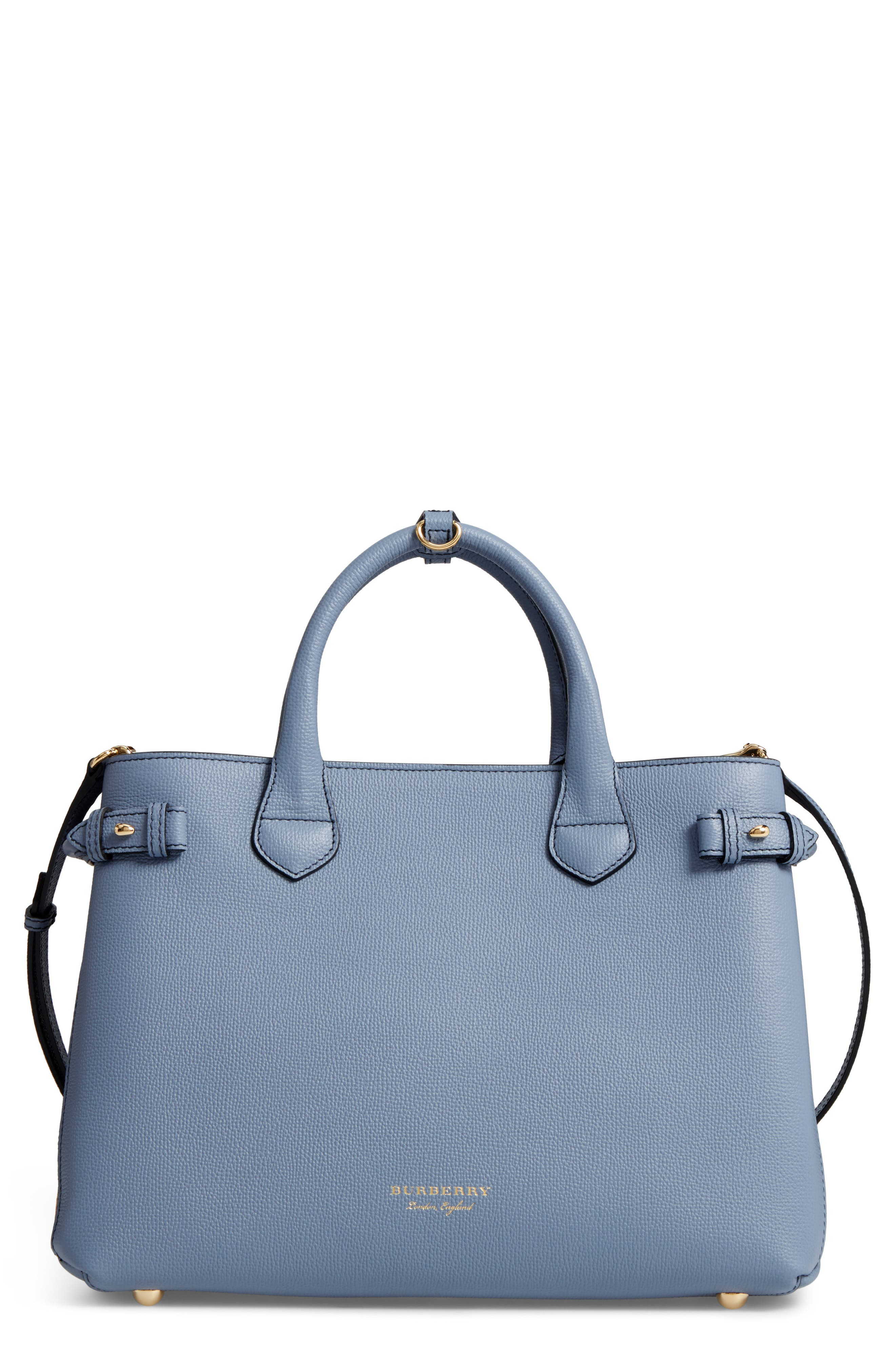 Medium Banner House Check Leather Tote,                         Main,                         color, Slate Blue
