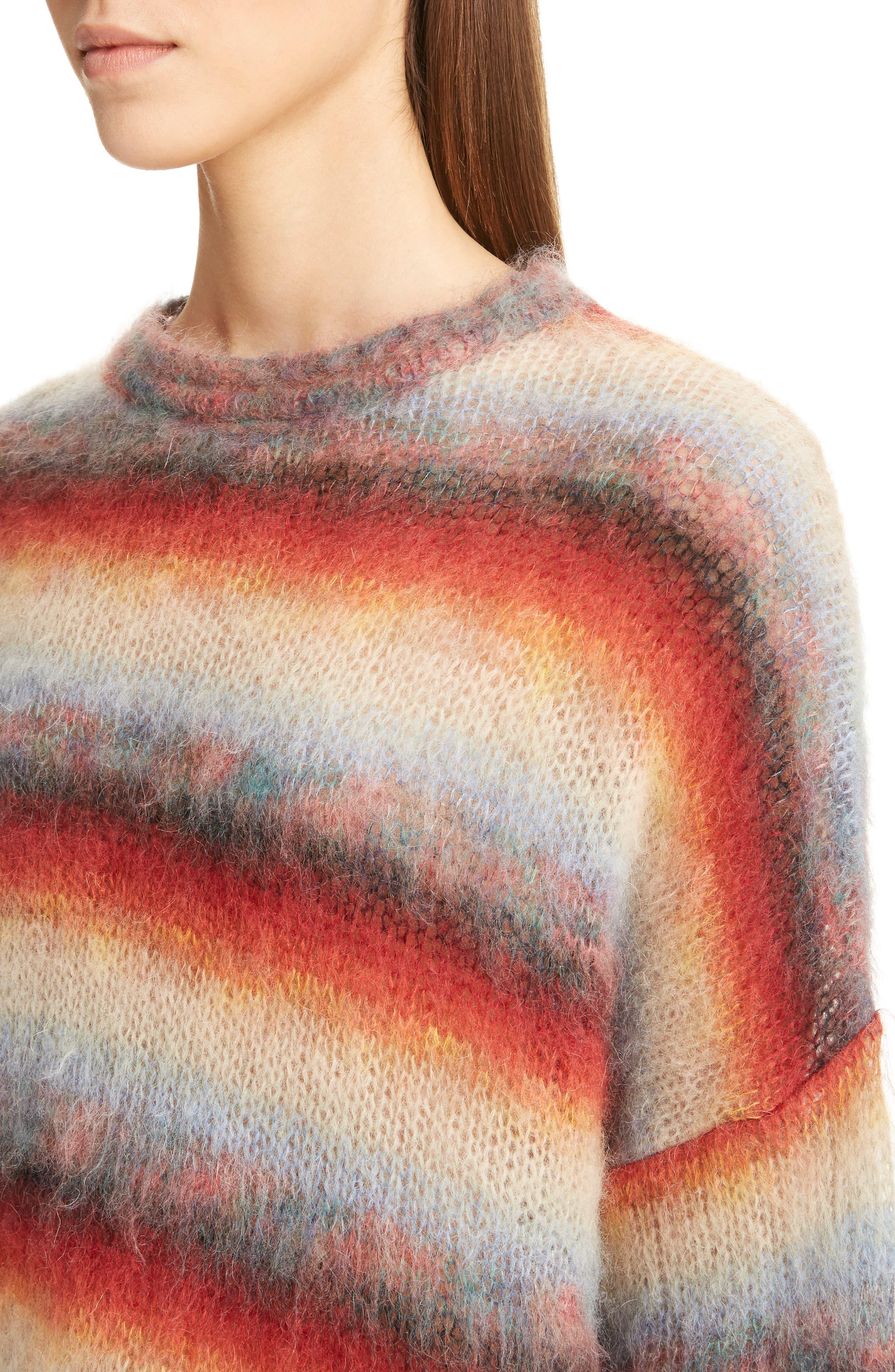 Mohair Blend Dégradé Stripe Sweater,                             Alternate thumbnail 4, color,                             Multi