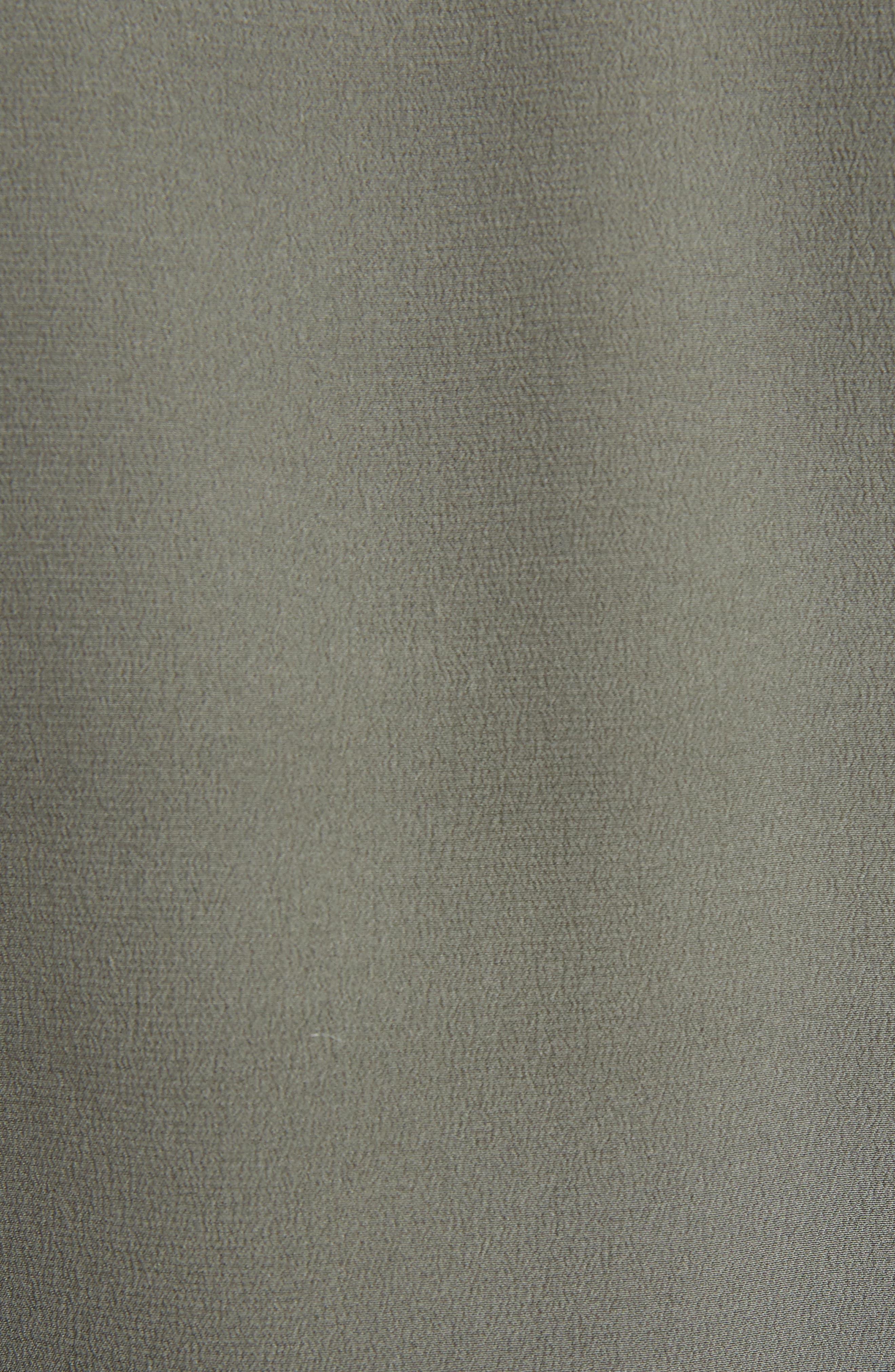 Contrast Neckline Silk Crêpe de Chine Blouse,                             Alternate thumbnail 5, color,                             Green Blue