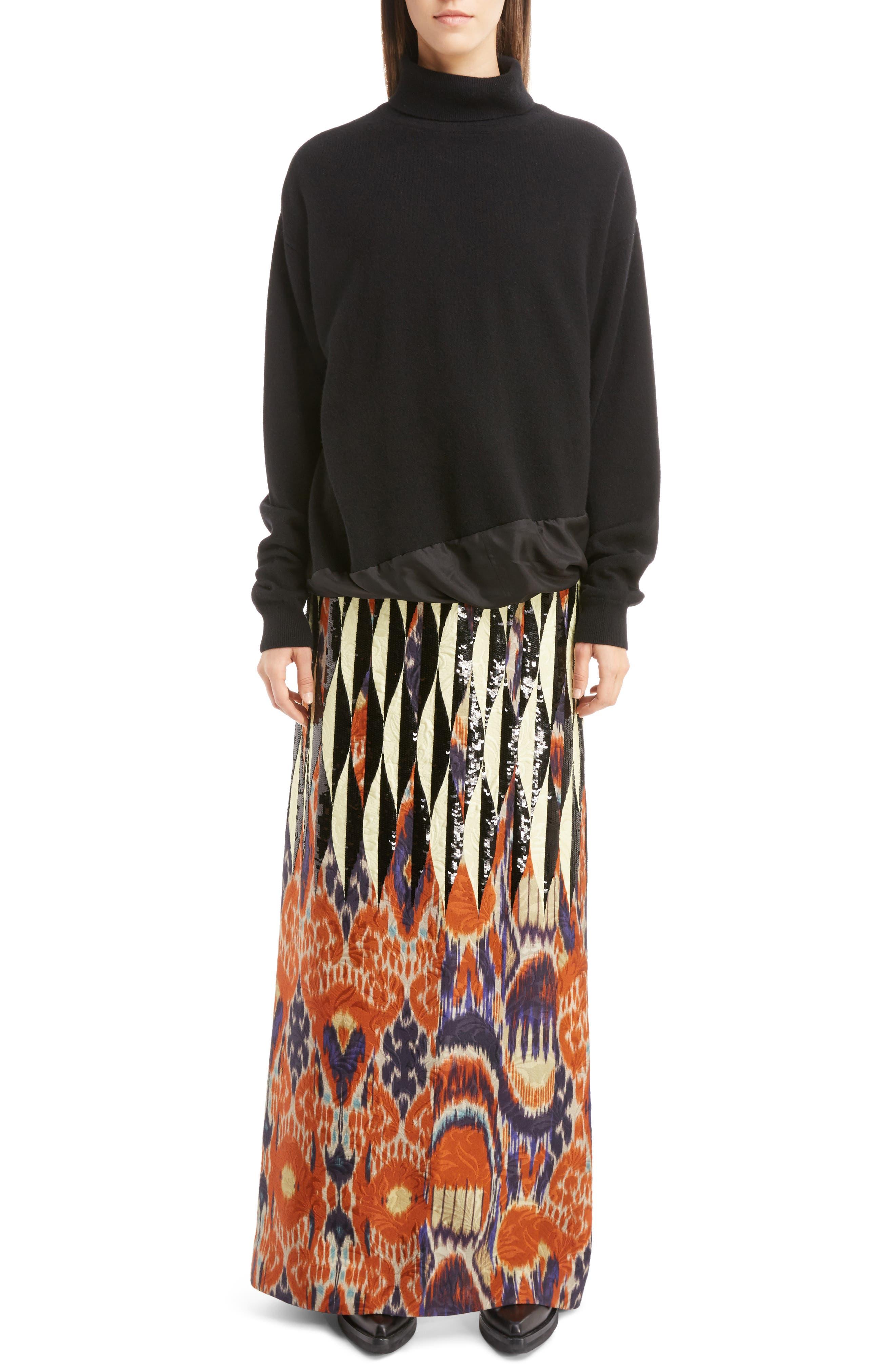 Alternate Image 7  - Dries Van Noten Silk Hem Cashmere Turtleneck Sweater