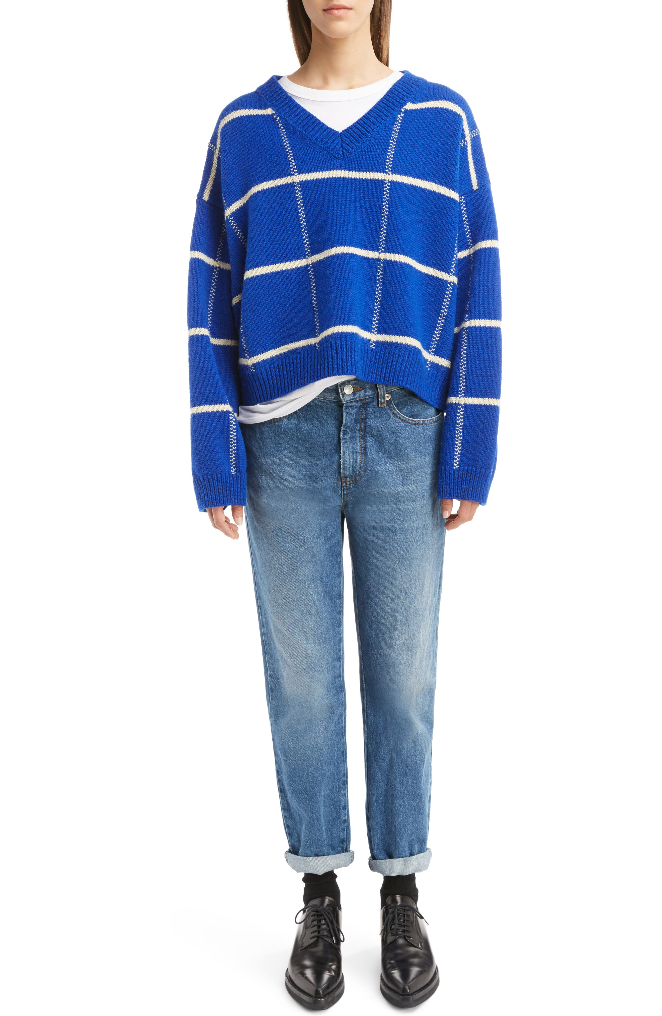 Windowpane Knit Wool Sweater,                             Alternate thumbnail 6, color,                             King Blue