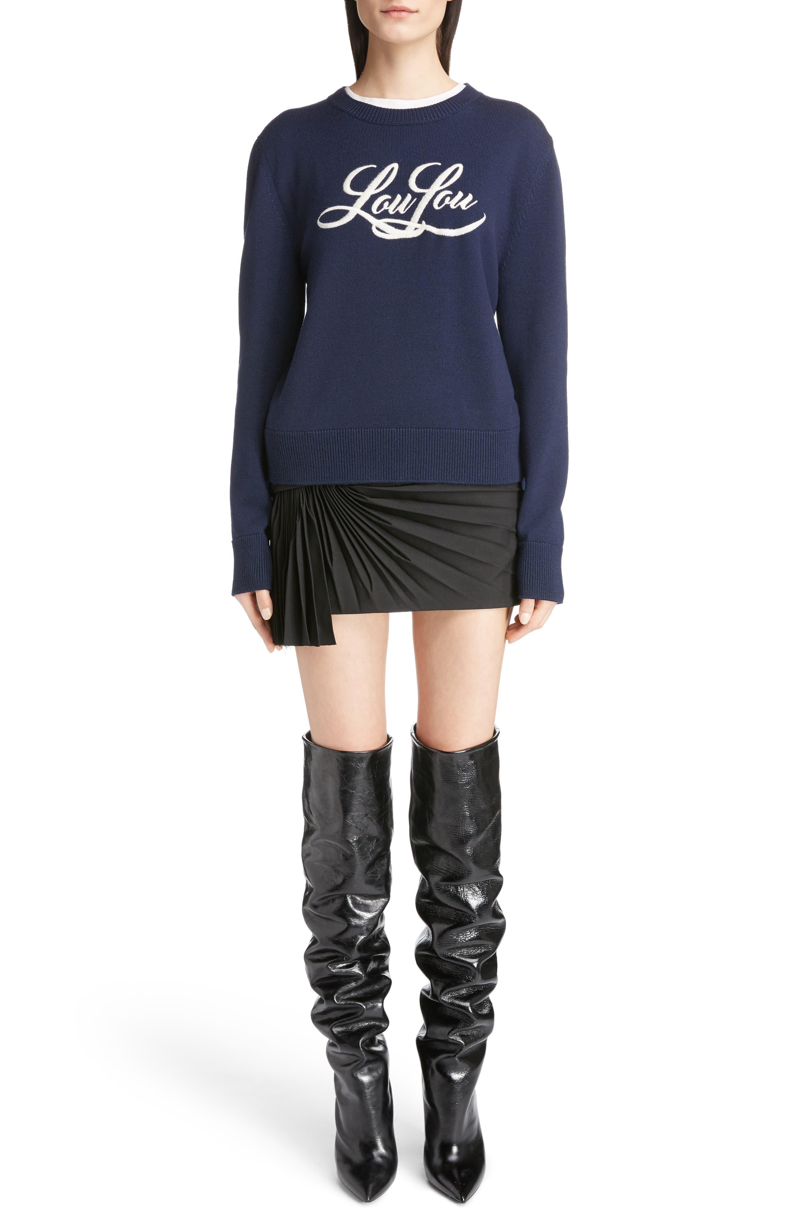 Alternate Image 6  - Saint Laurent Pleated Wool Gabardine Miniskirt