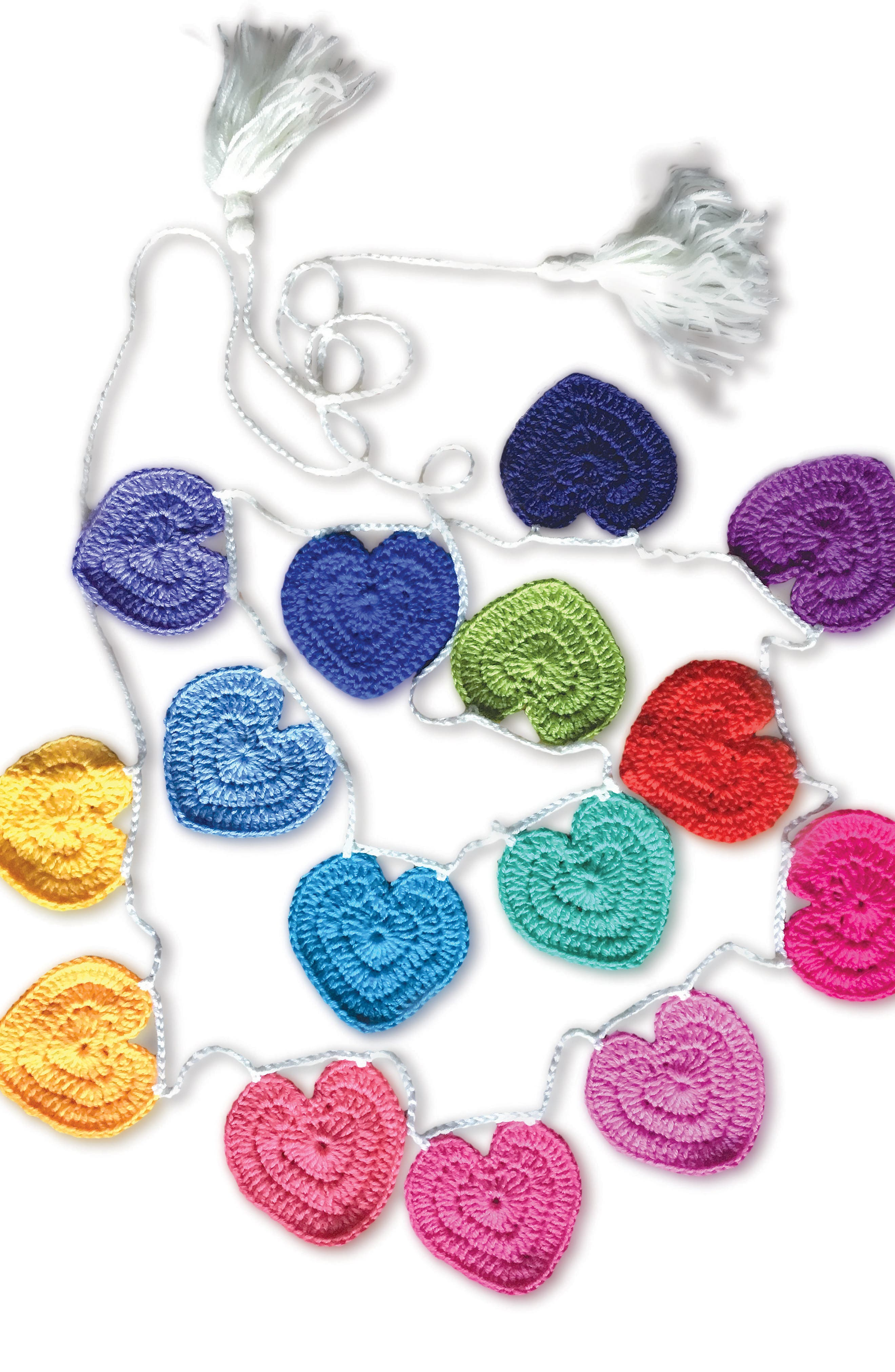 Crocheted Heart Bunting,                         Main,                         color, Rainbow