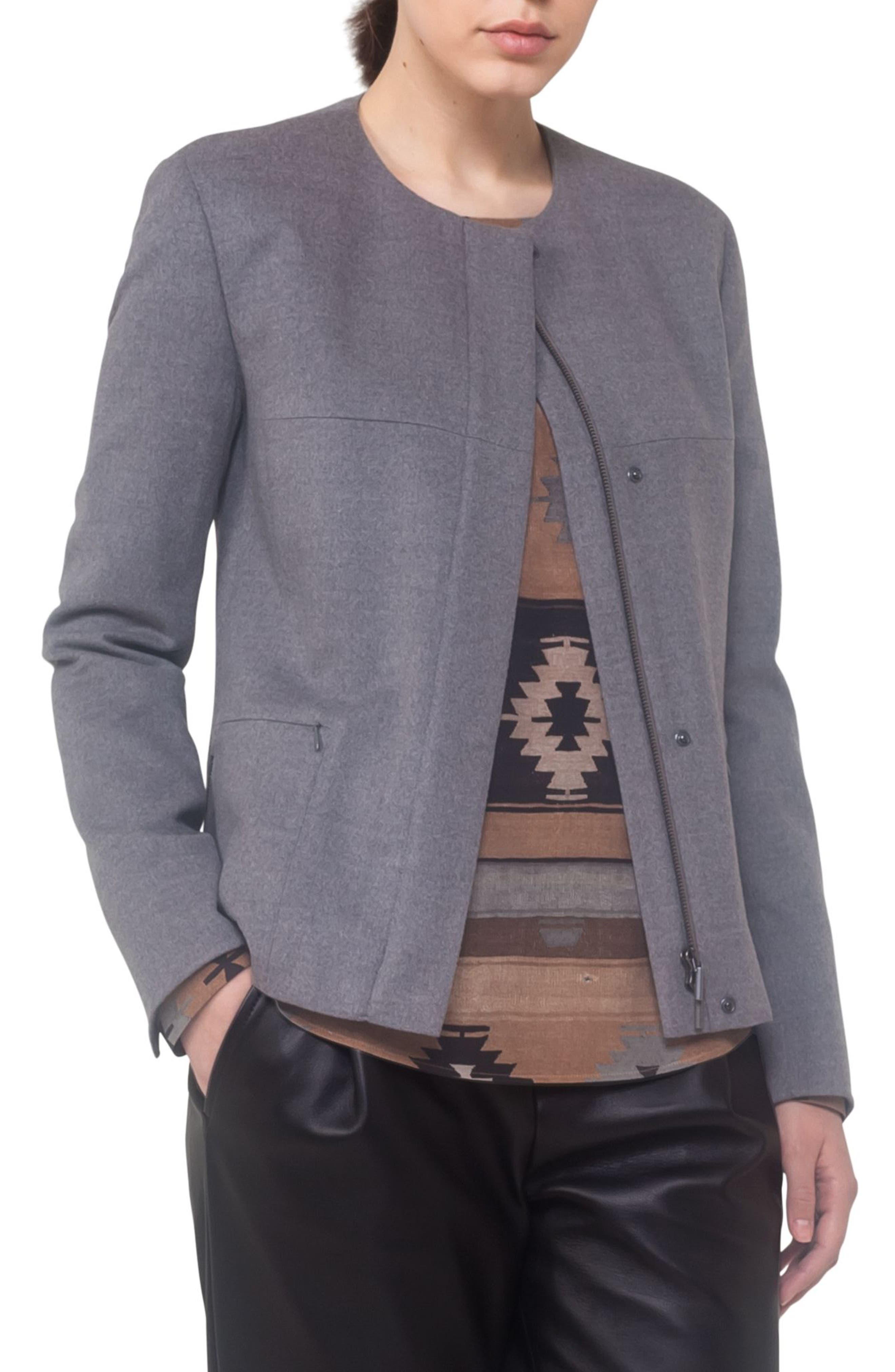 Wool A-Line Jacket,                         Main,                         color, Stone