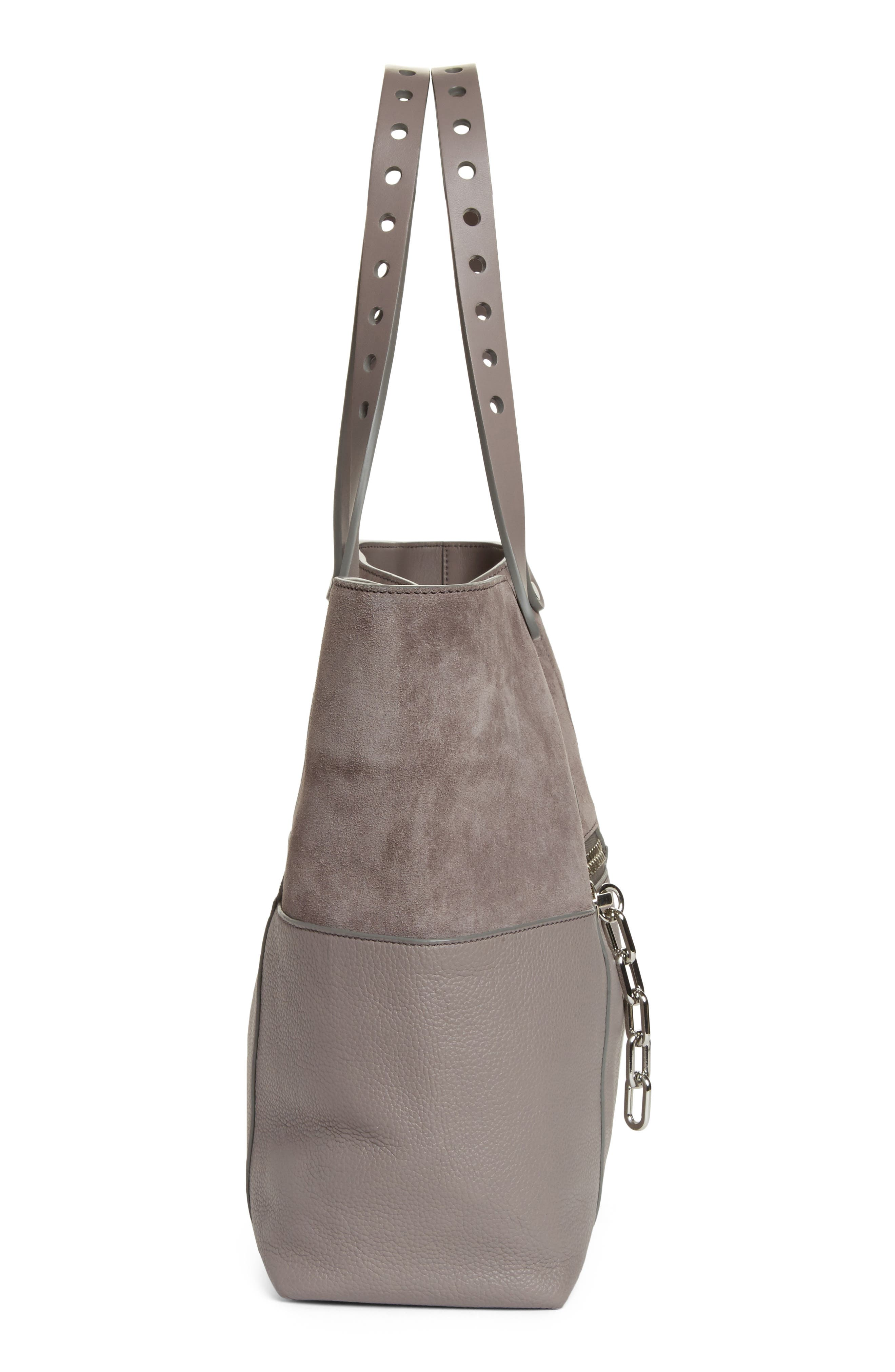 Riot Suede & Leather Tote,                             Alternate thumbnail 5, color,                             Grey