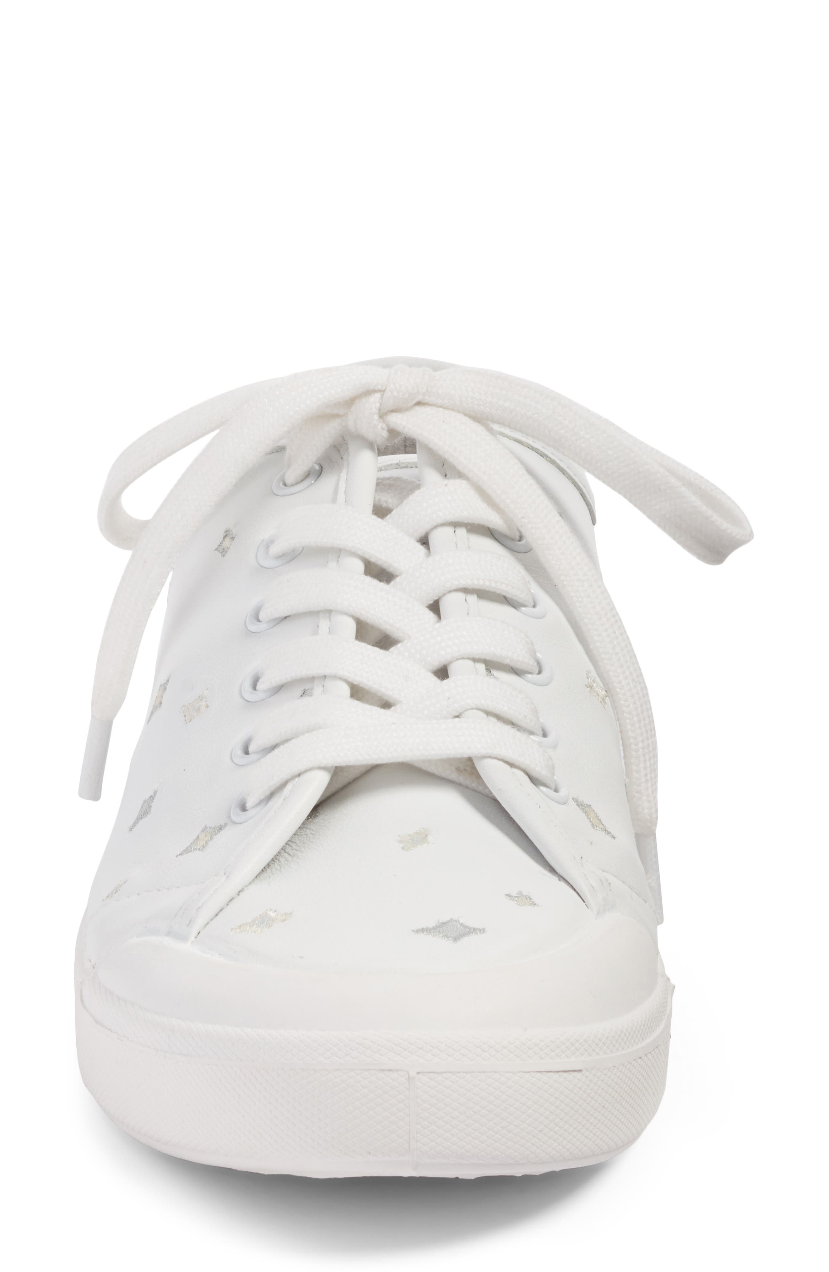 Embroidered Standard Issue Sneaker,                             Alternate thumbnail 4, color,                             White Leather Embroidery