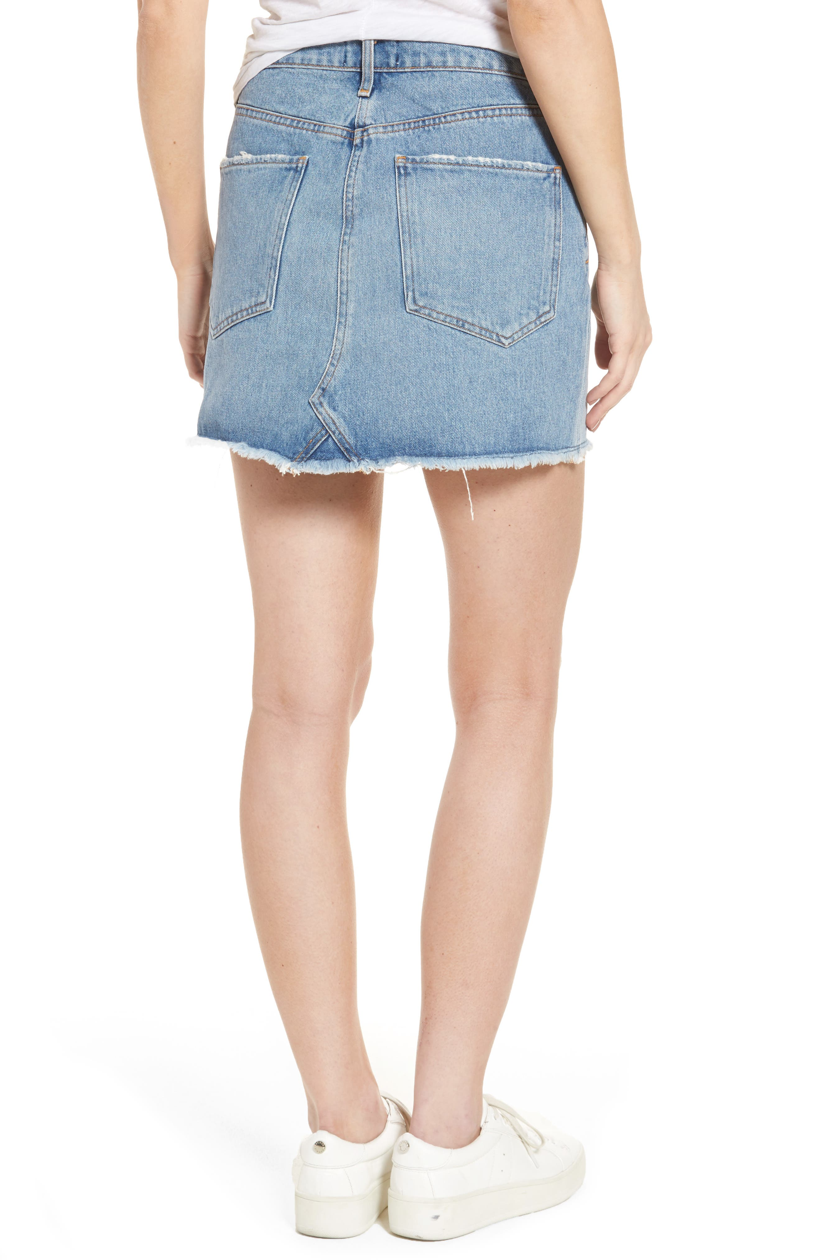 Quinn High Waist Denim Miniskirt,                             Alternate thumbnail 2, color,                             Devotee