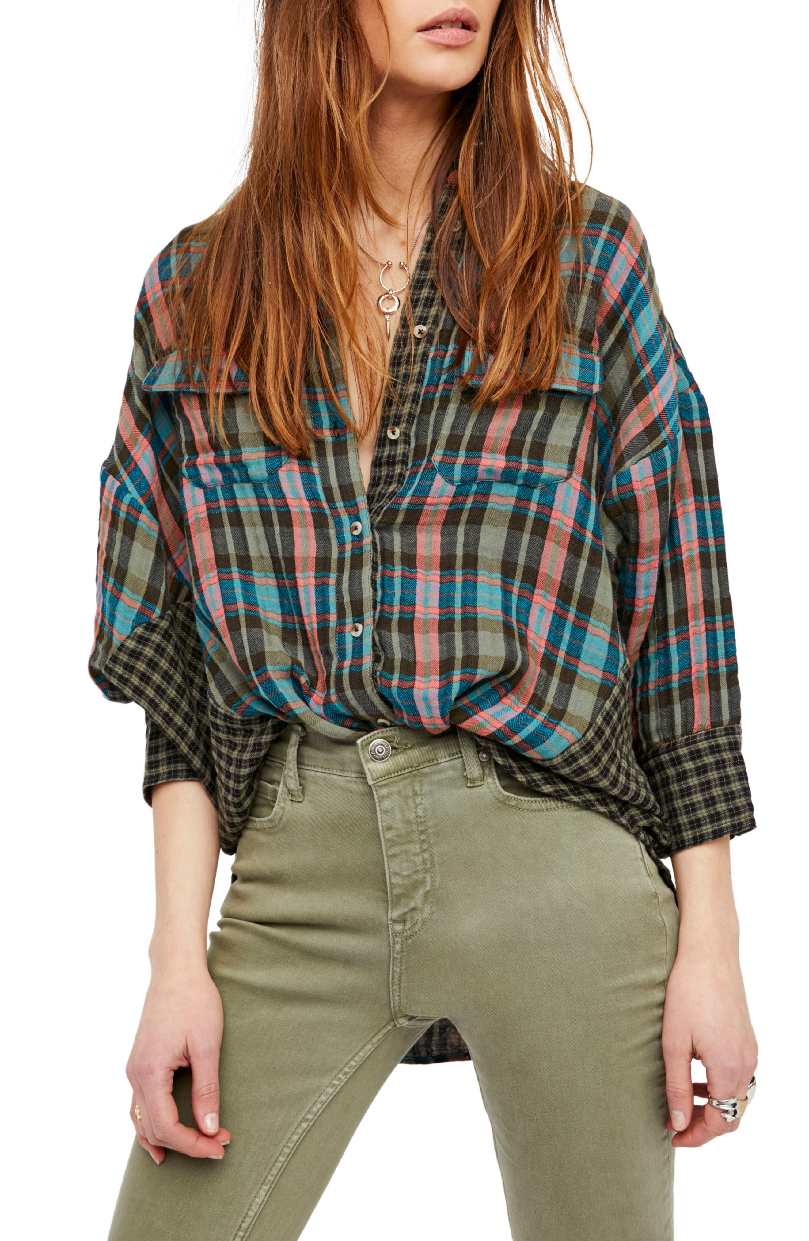 One of the Guys Plaid Shirt,                             Main thumbnail 1, color,                             Green Combo