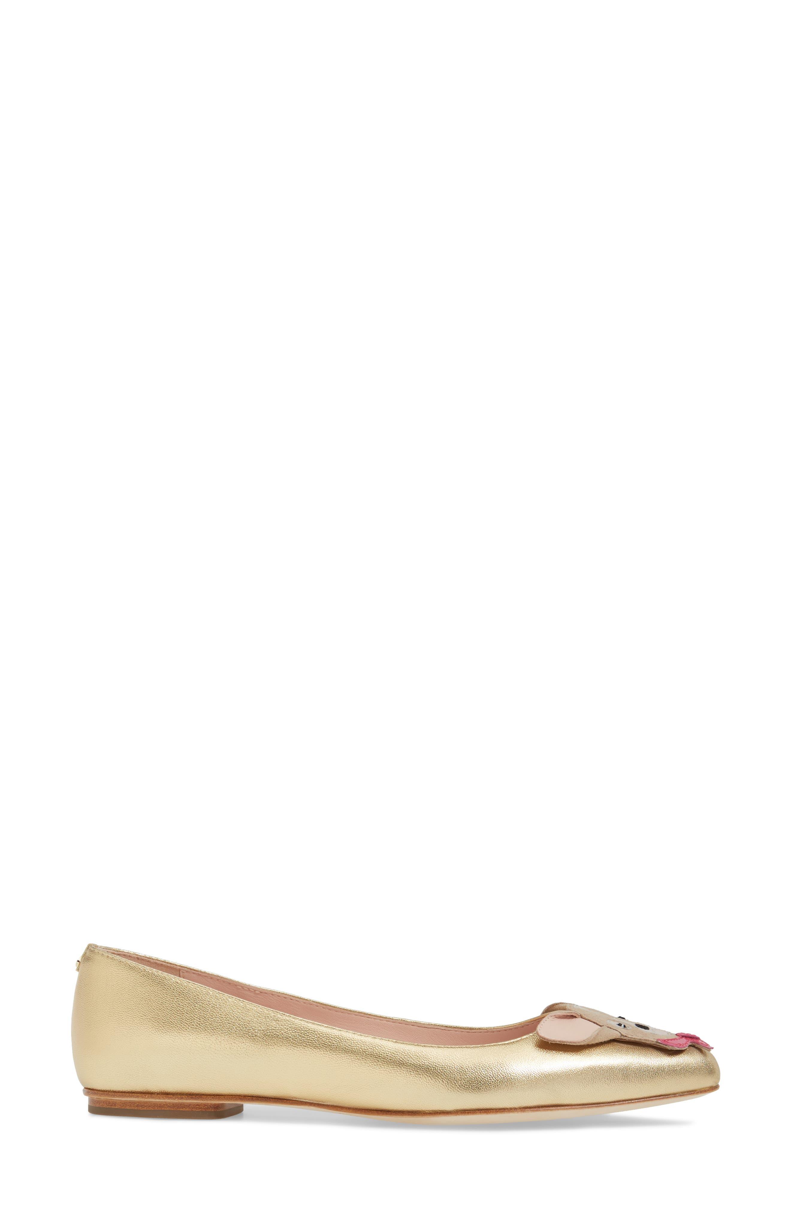 niles chihuahua flat,                             Alternate thumbnail 3, color,                             Gold Metallic Nappa