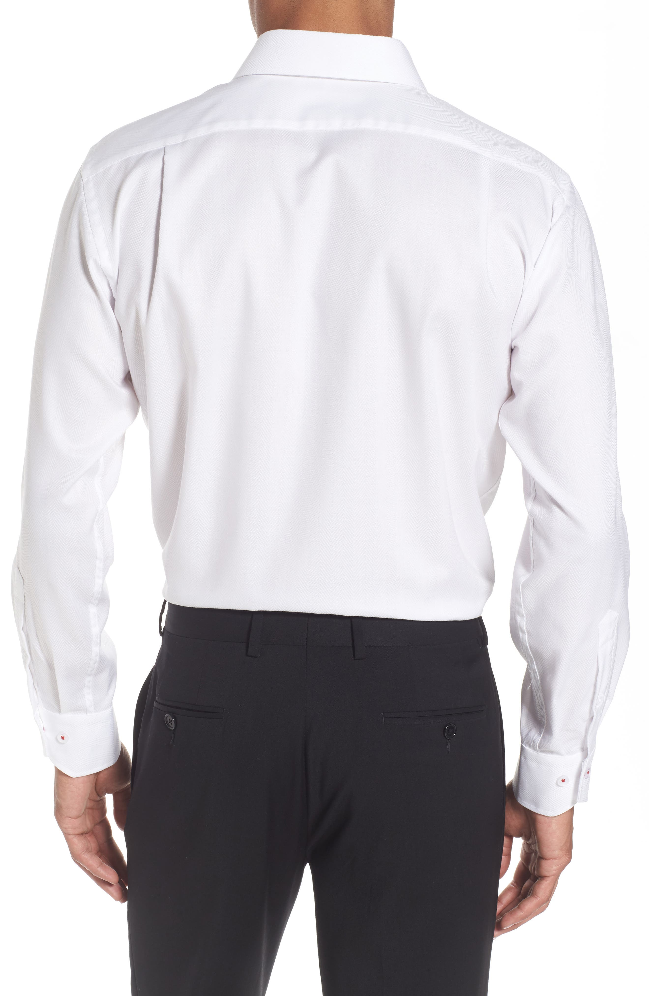 Trim Fit Herringbone Dress Shirt,                             Alternate thumbnail 3, color,                             White