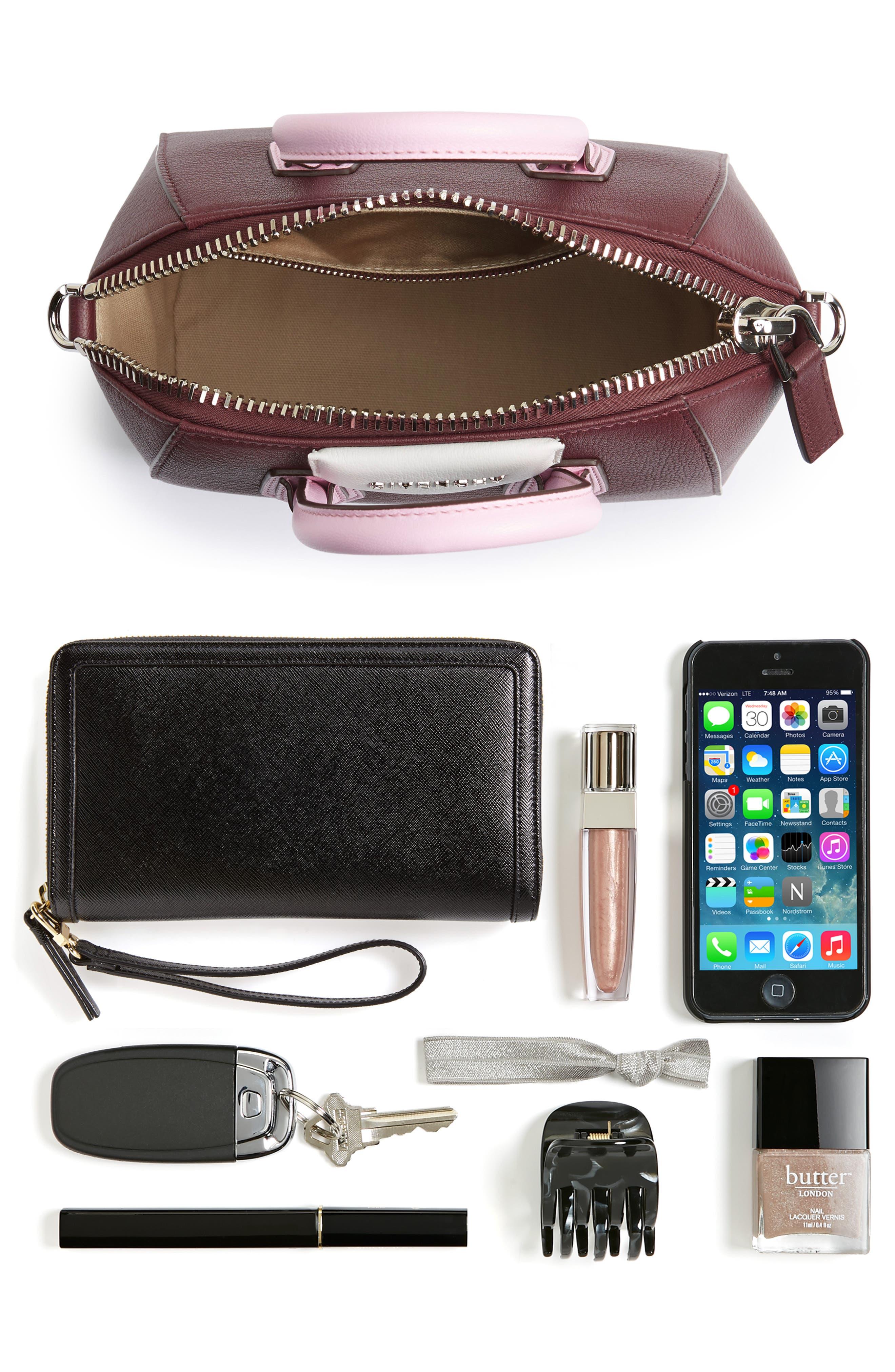 Mini Antigona Leather Top Handle Satchel,                             Alternate thumbnail 7, color,                             Burgundy/ Pink