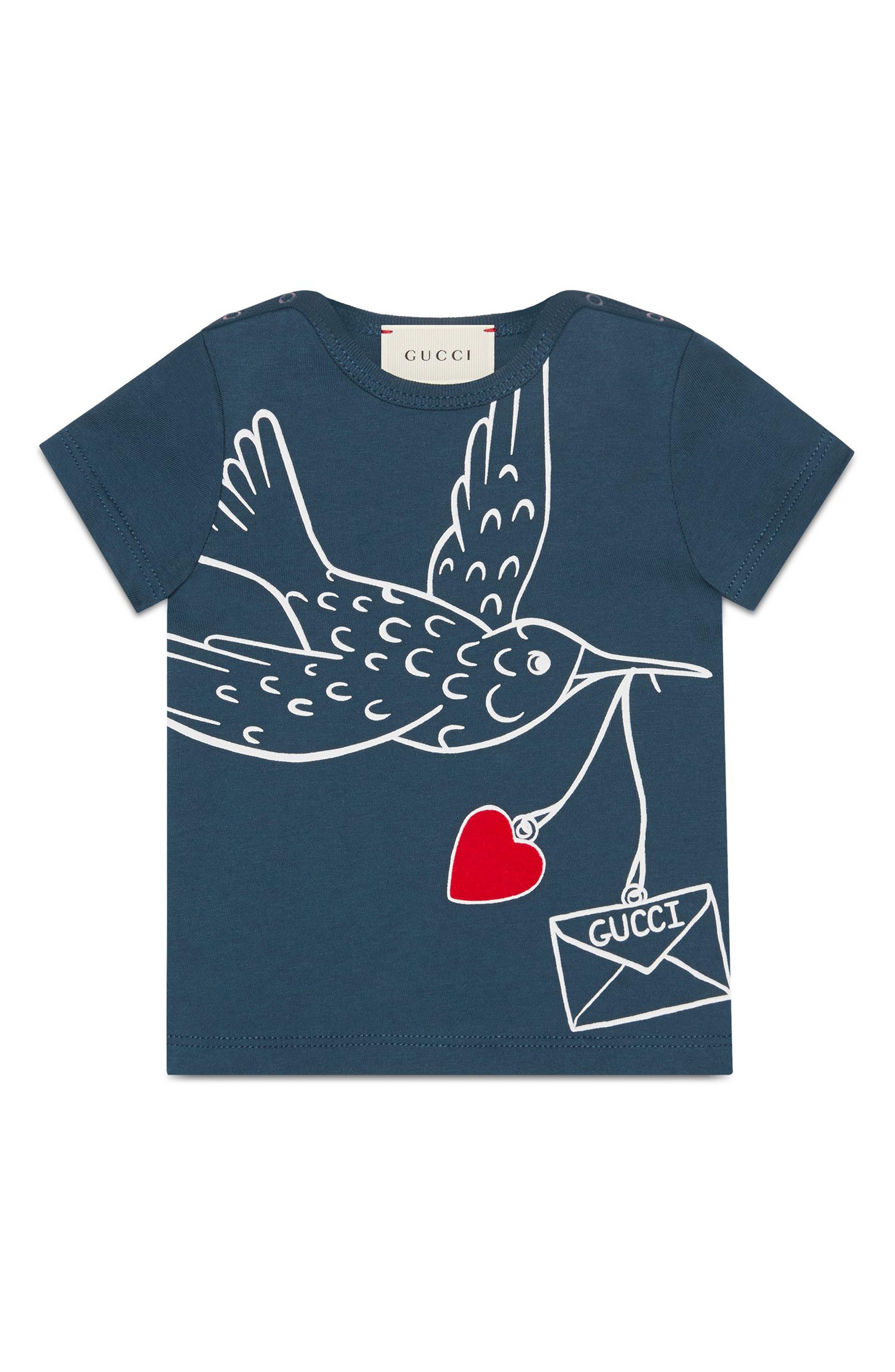 Bird Graphic Tee,                             Main thumbnail 1, color,                             Blue Multi