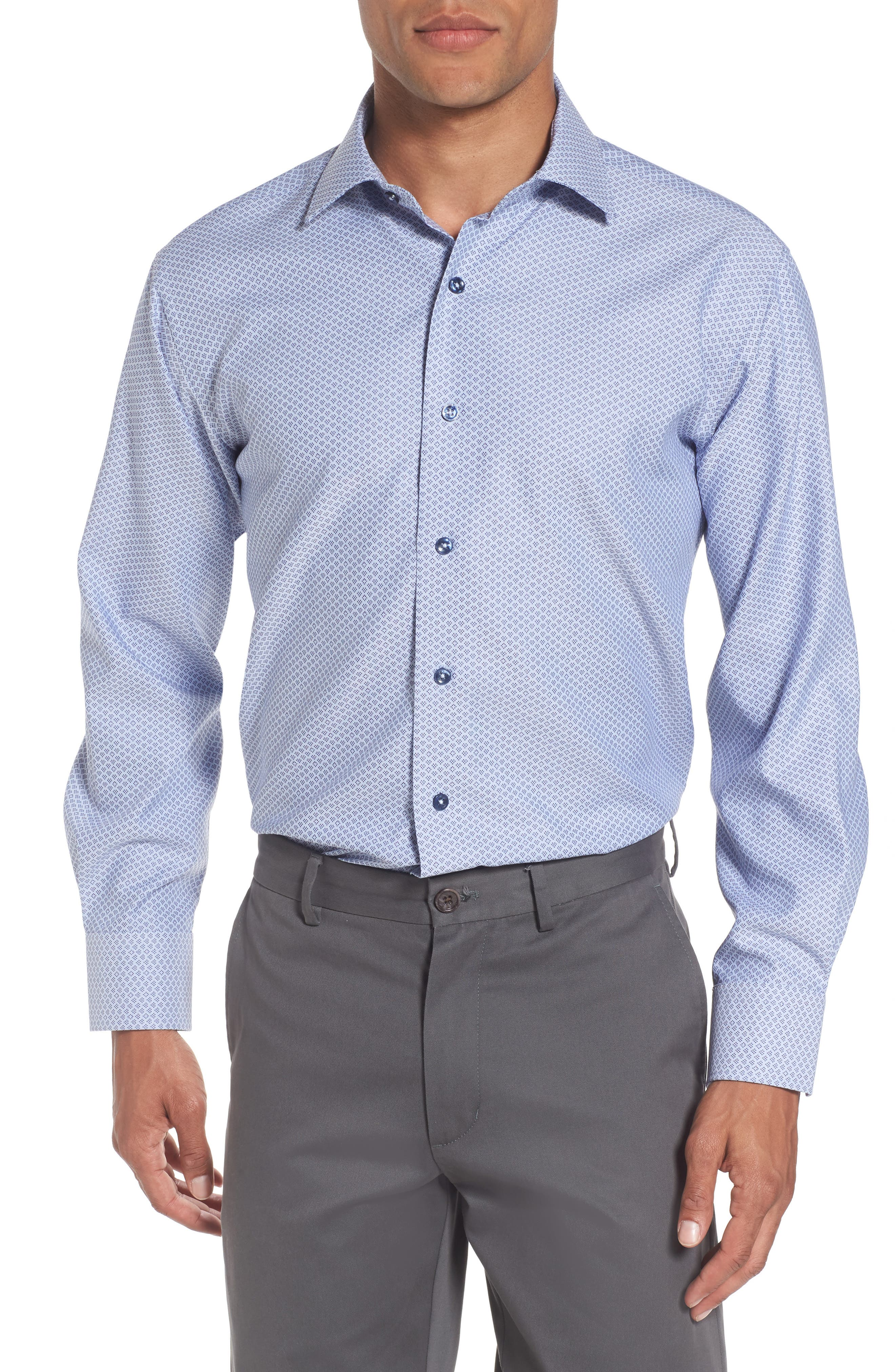Trim Fit Geometric Dress Shirt,                         Main,                         color, Blue