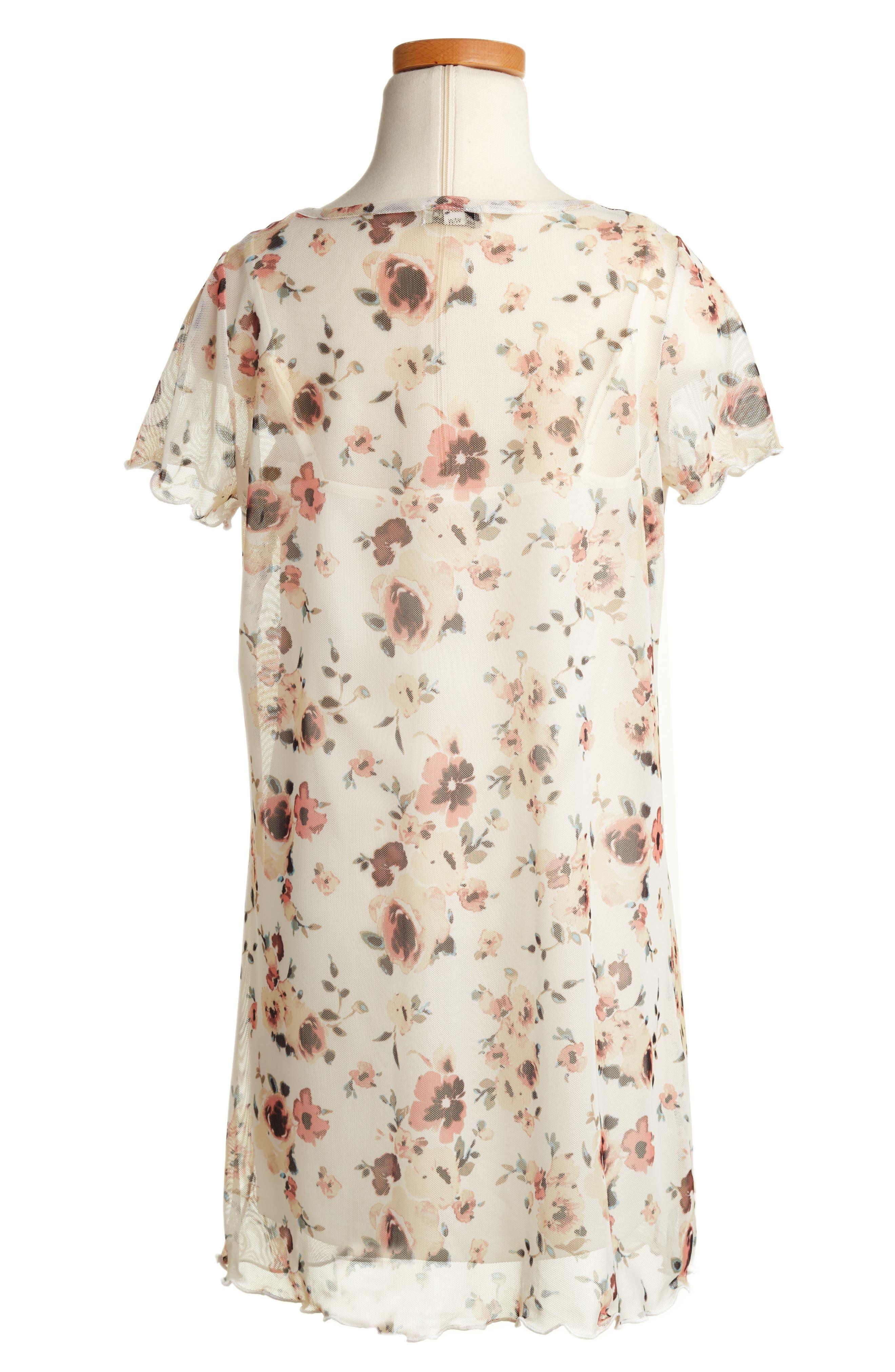 Alternate Image 2  - Love, Fire Floral Mesh T-Shirt Dress (Big Girls)