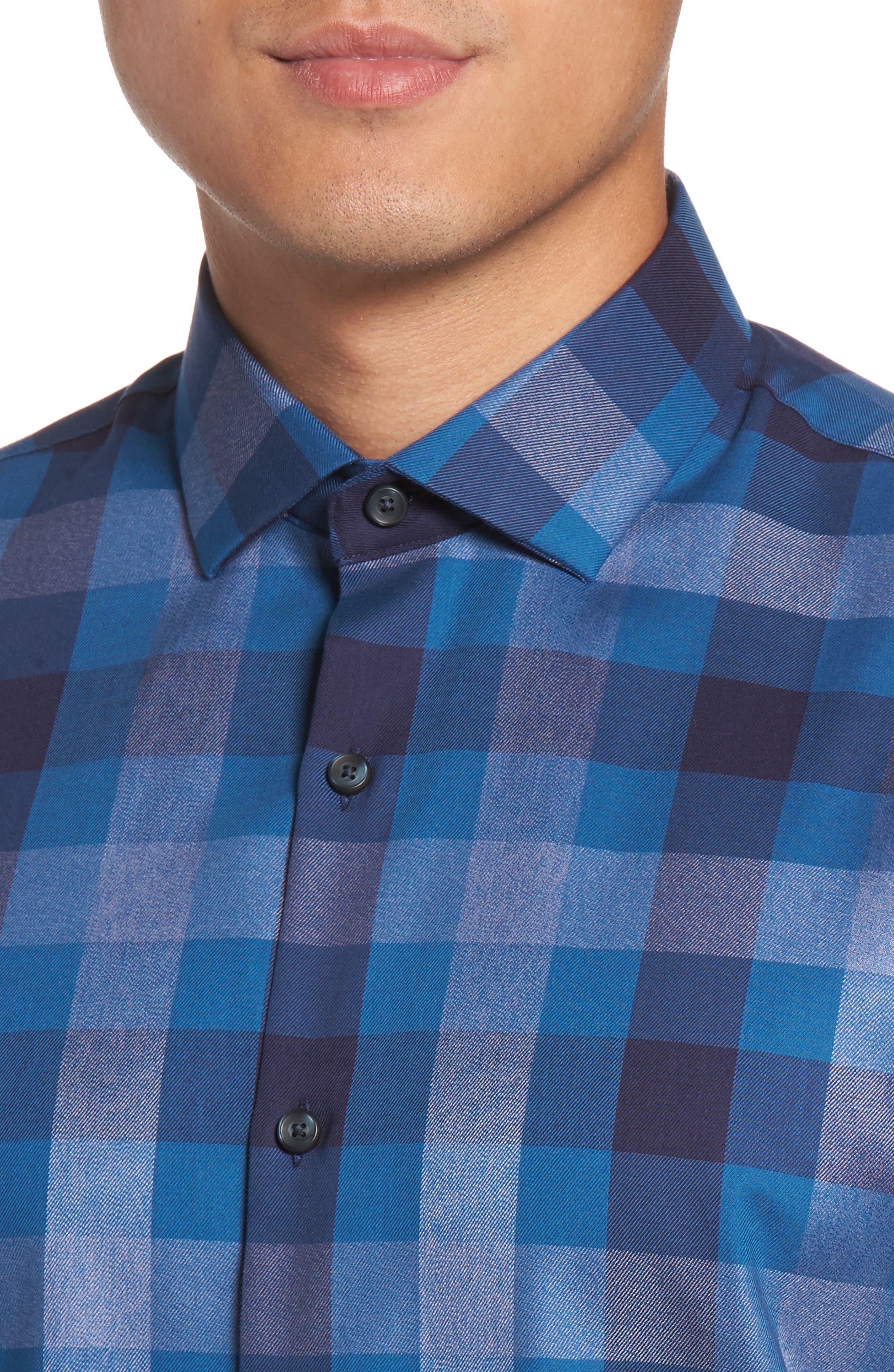 No-Iron Large Check Woven Shirt,                             Alternate thumbnail 4, color,                             Navy Dusk Heather Check