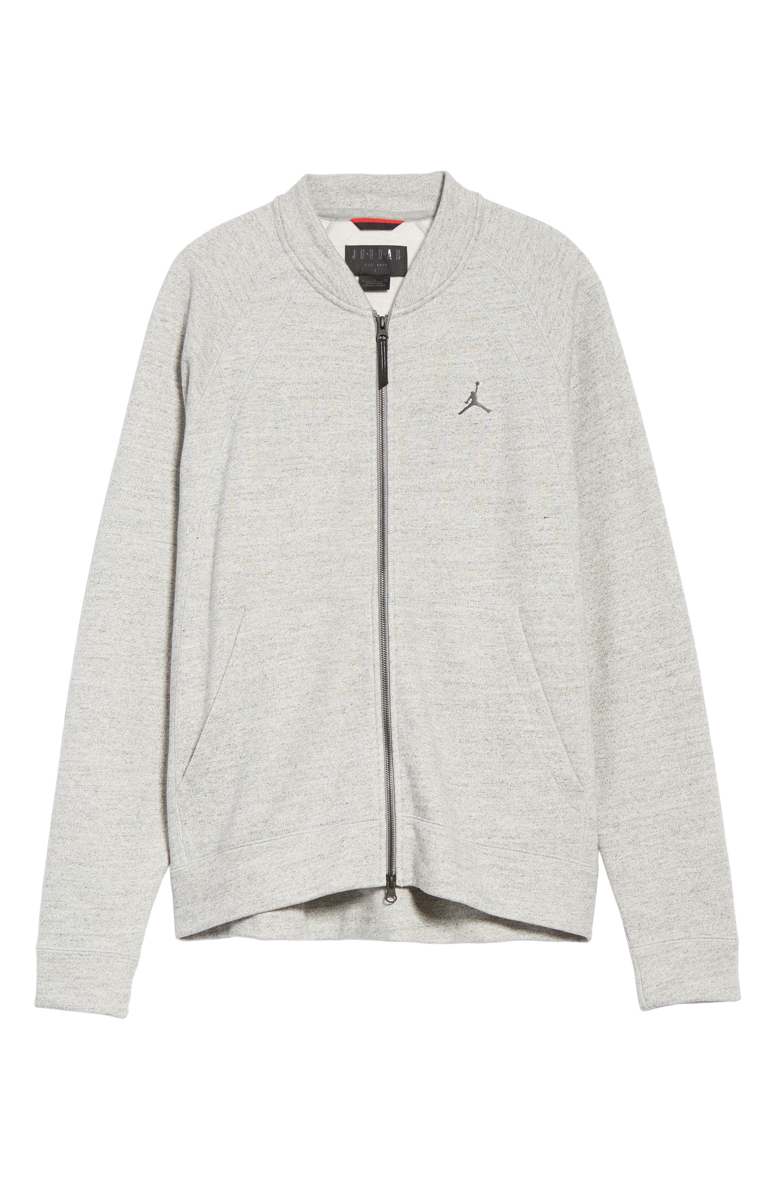 Sportswear Wings Fleece Bomber Jacket,                             Alternate thumbnail 6, color,                             Dark Grey Heather/ Black