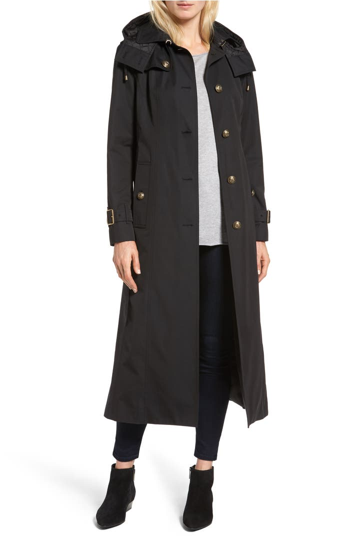 london fog hooded single breasted long trench coat nordstrom. Black Bedroom Furniture Sets. Home Design Ideas