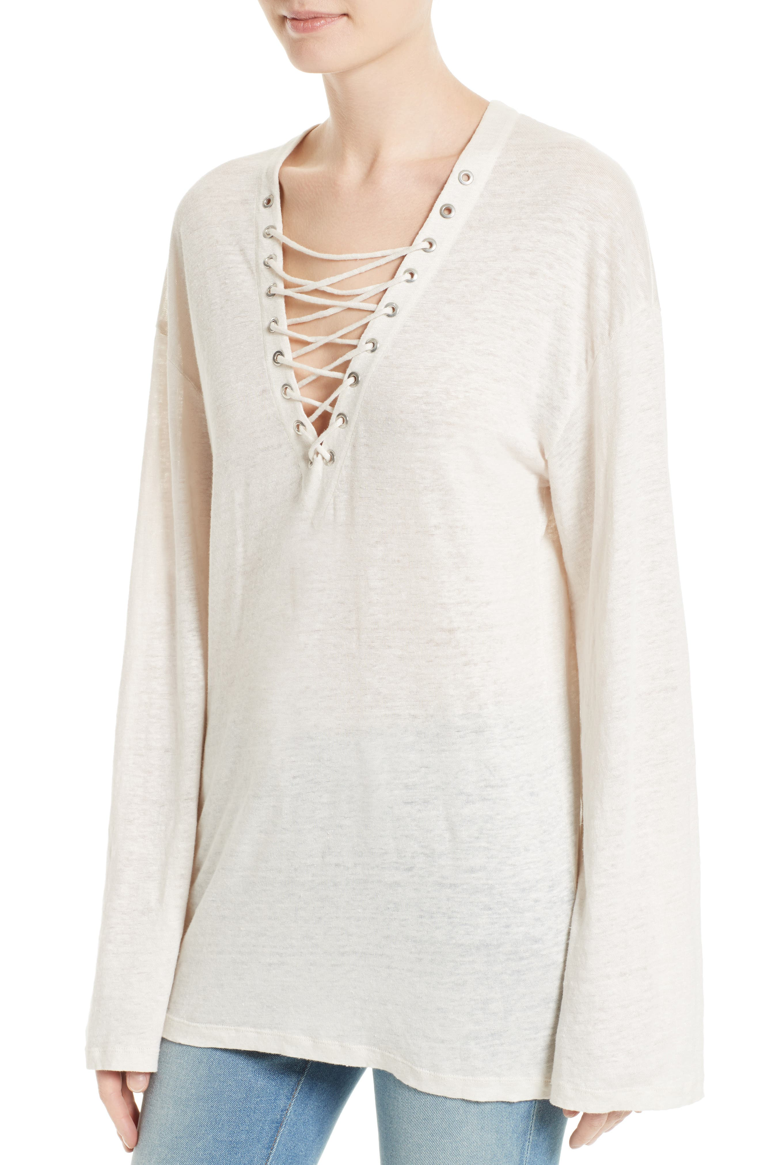 Alety Lace-Up Linen Top,                             Alternate thumbnail 4, color,                             Ivory