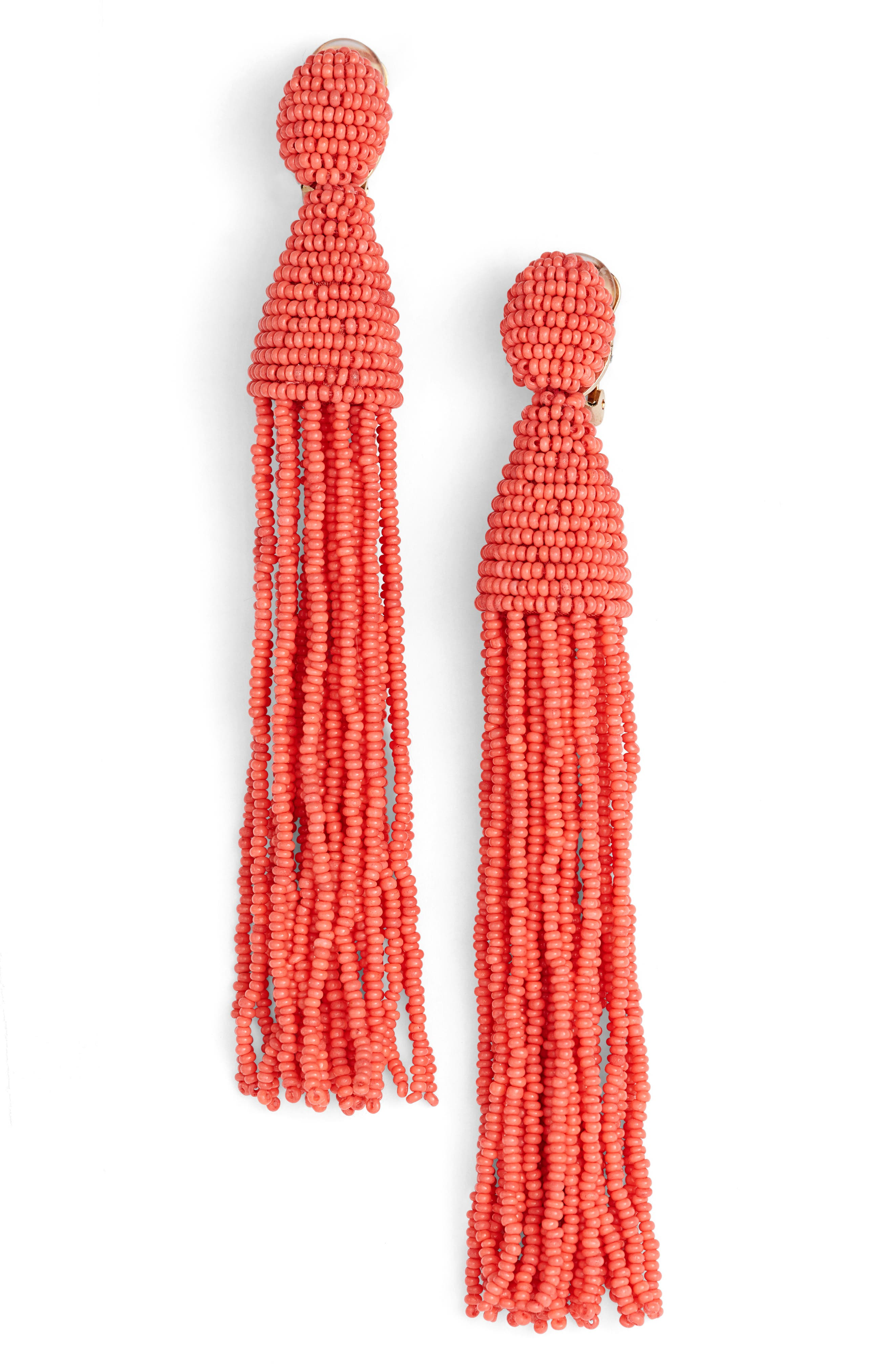 Long Tassel Drop Clip Earrings,                         Main,                         color, Coral