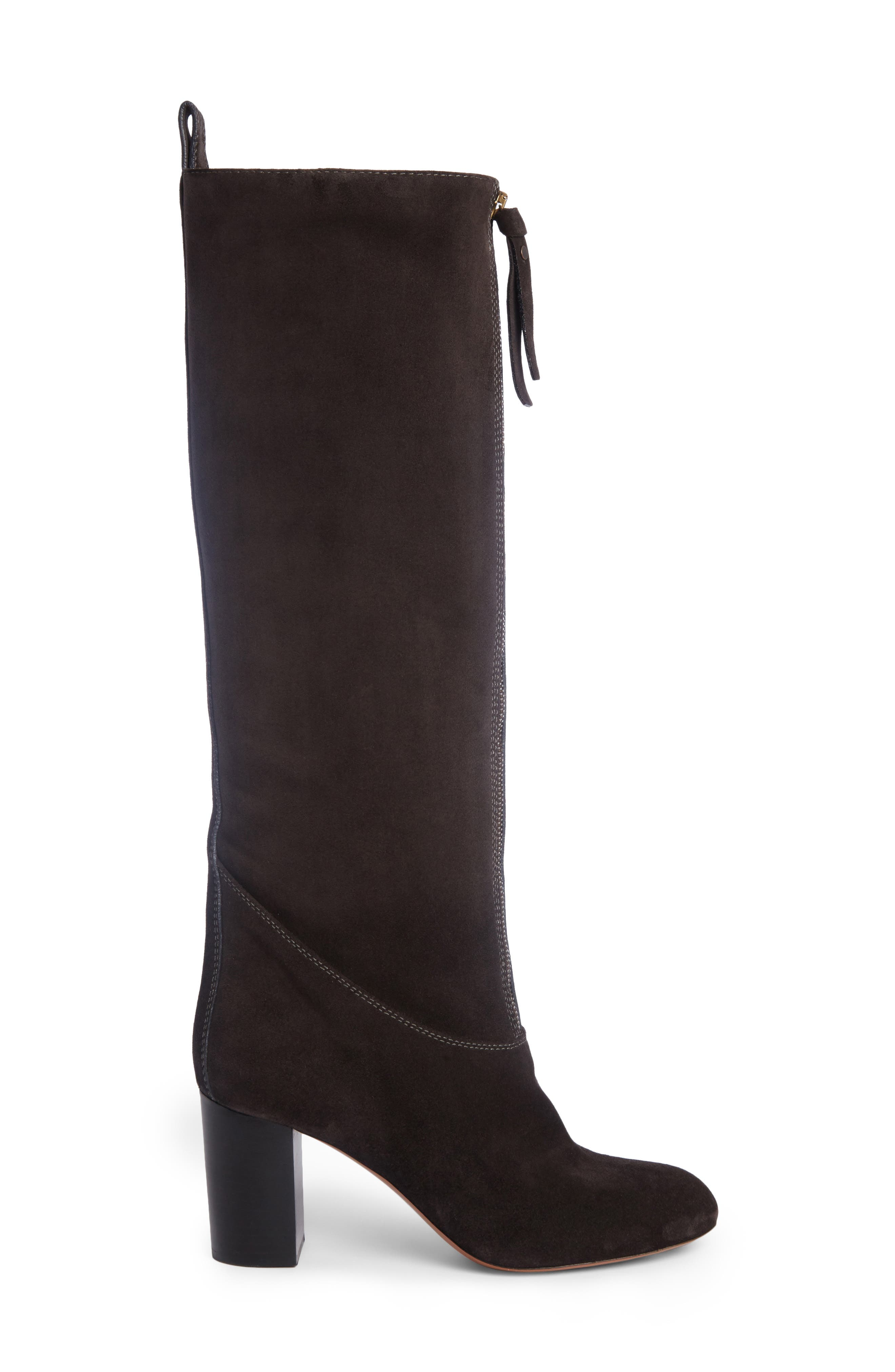 Paisley Front Zip Boot,                             Alternate thumbnail 4, color,                             Charcoal Black Suede