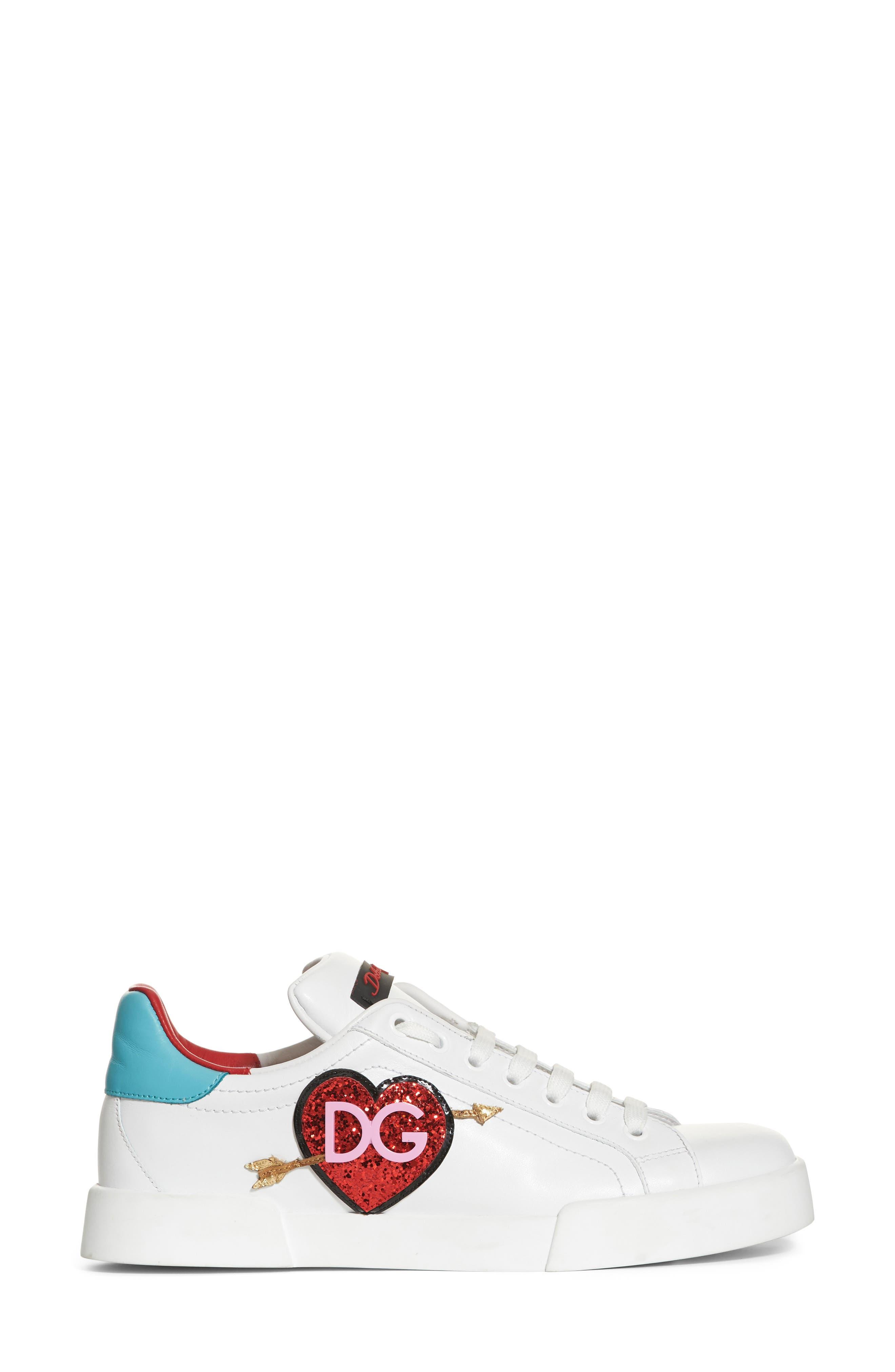 Heart Sneaker,                             Alternate thumbnail 3, color,                             White/ Blue