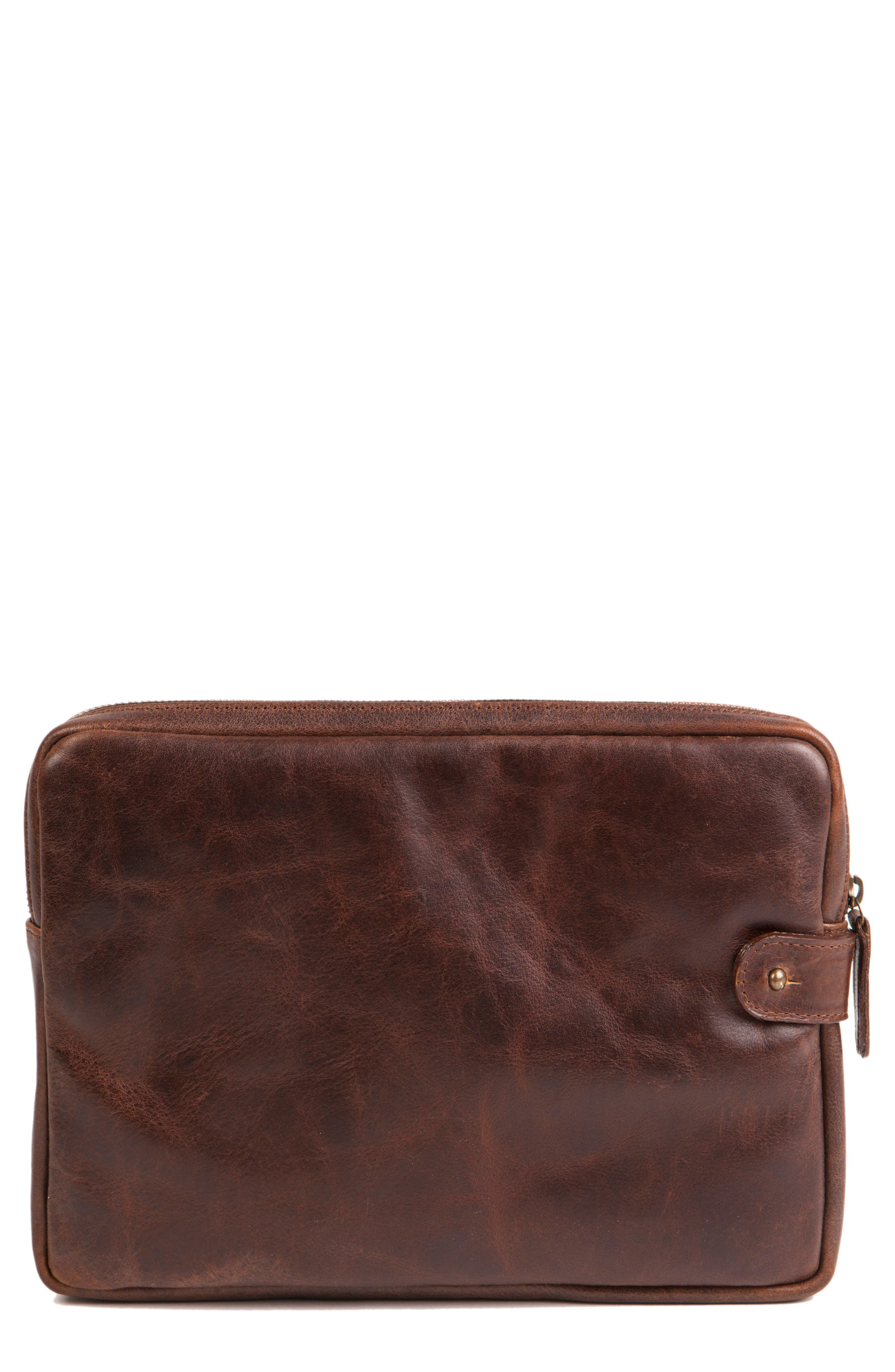 Leather Tablet Sleeve,                         Main,                         color, Titan Milled Brown
