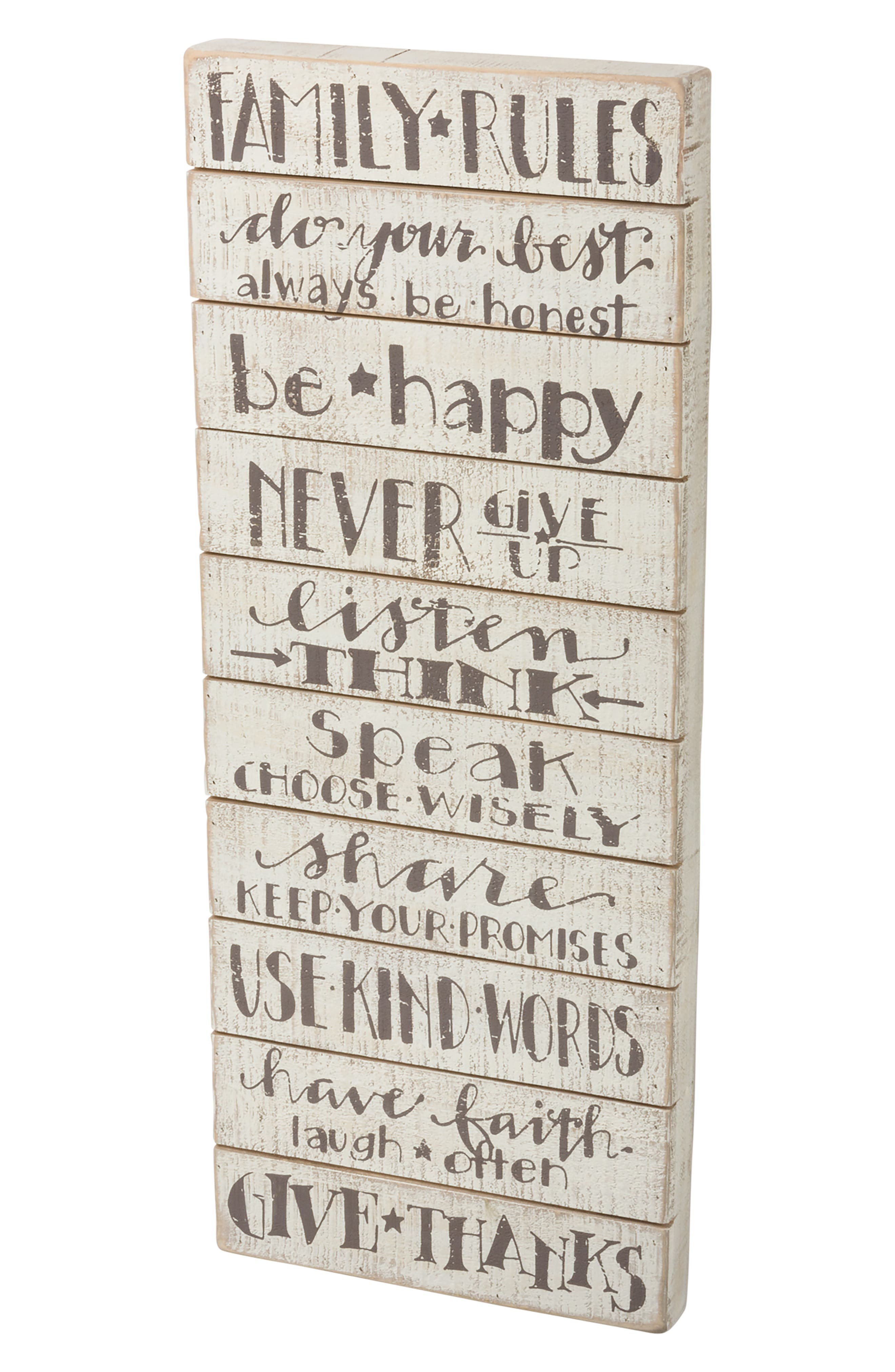 Primitives by Kathy Family Rules Wood Box Sign
