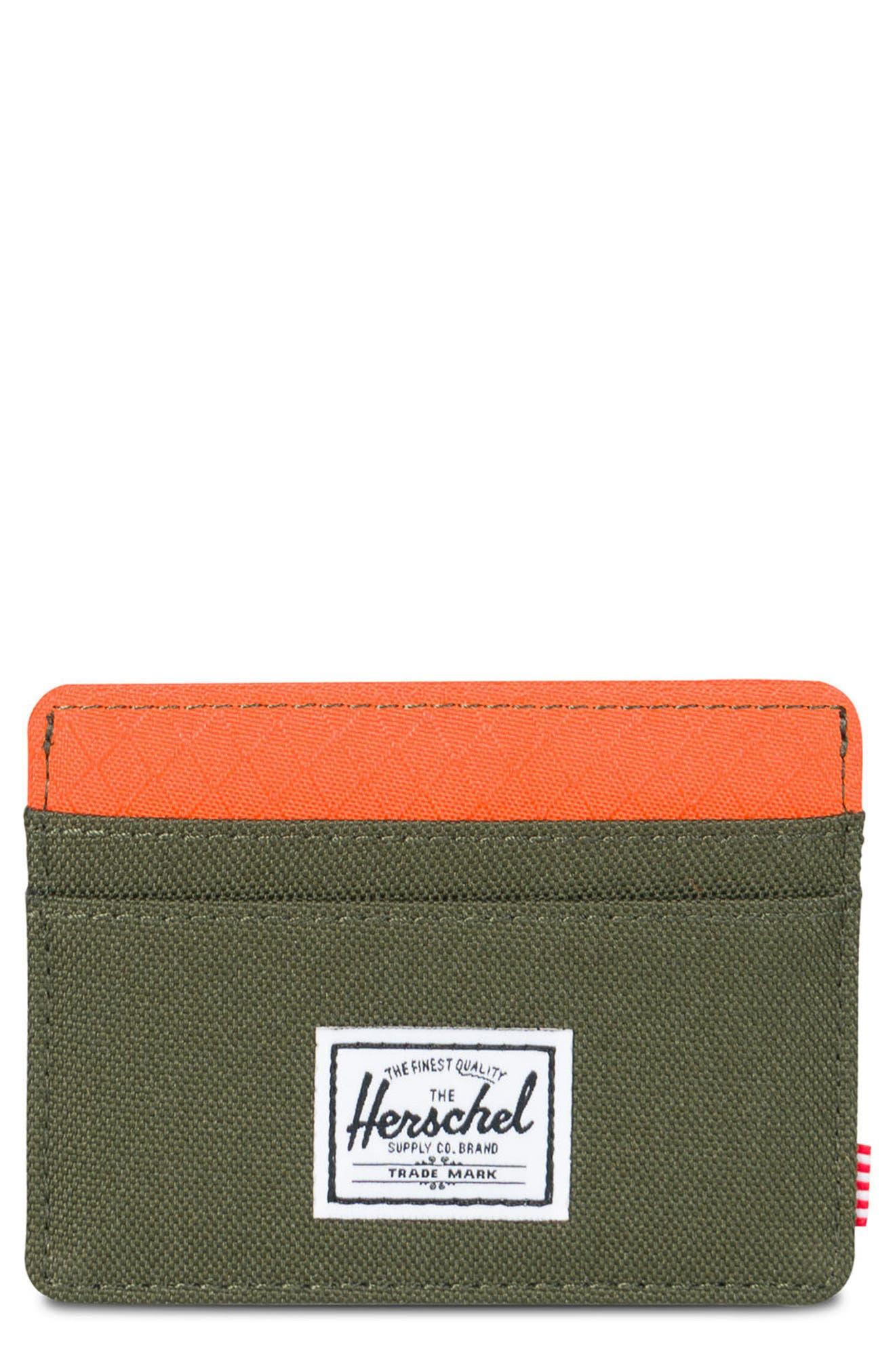 Charlie RFID Card Case,                         Main,                         color, Forest/ Vermillion Orange