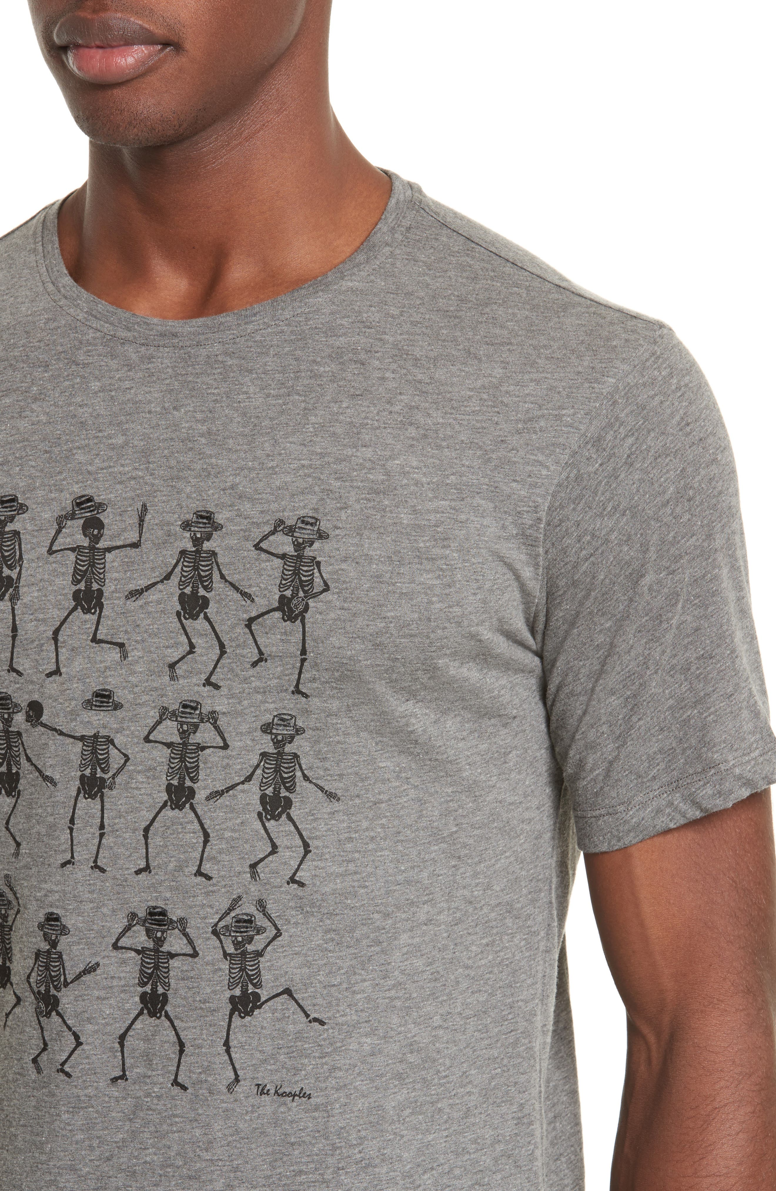 Dancing Skeleton Graphic T-Shirt,                             Alternate thumbnail 3, color,                             Gry23